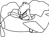 Alligator Plane Coloring Page