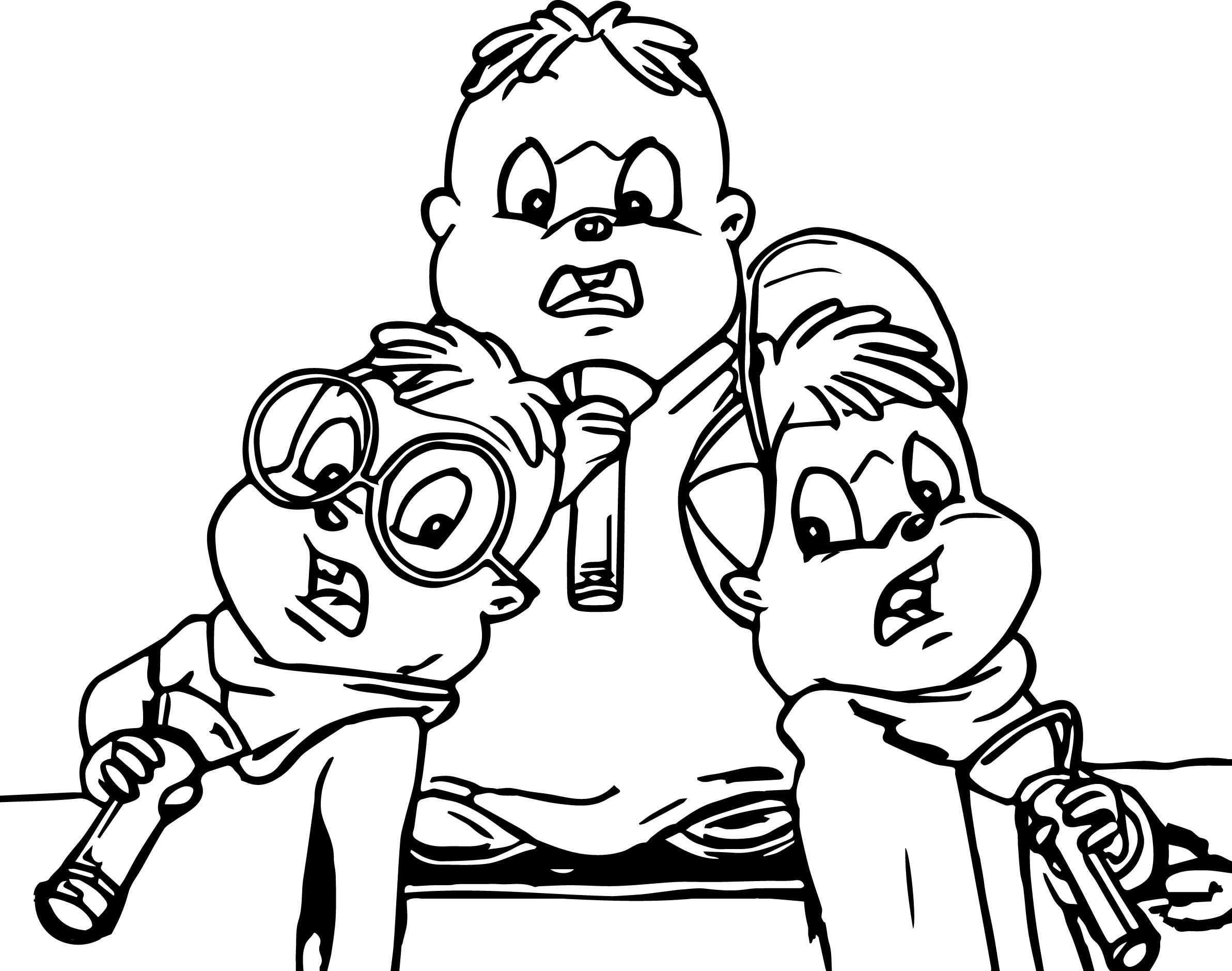 Alvin And Chipmunks Scream Coloring Page