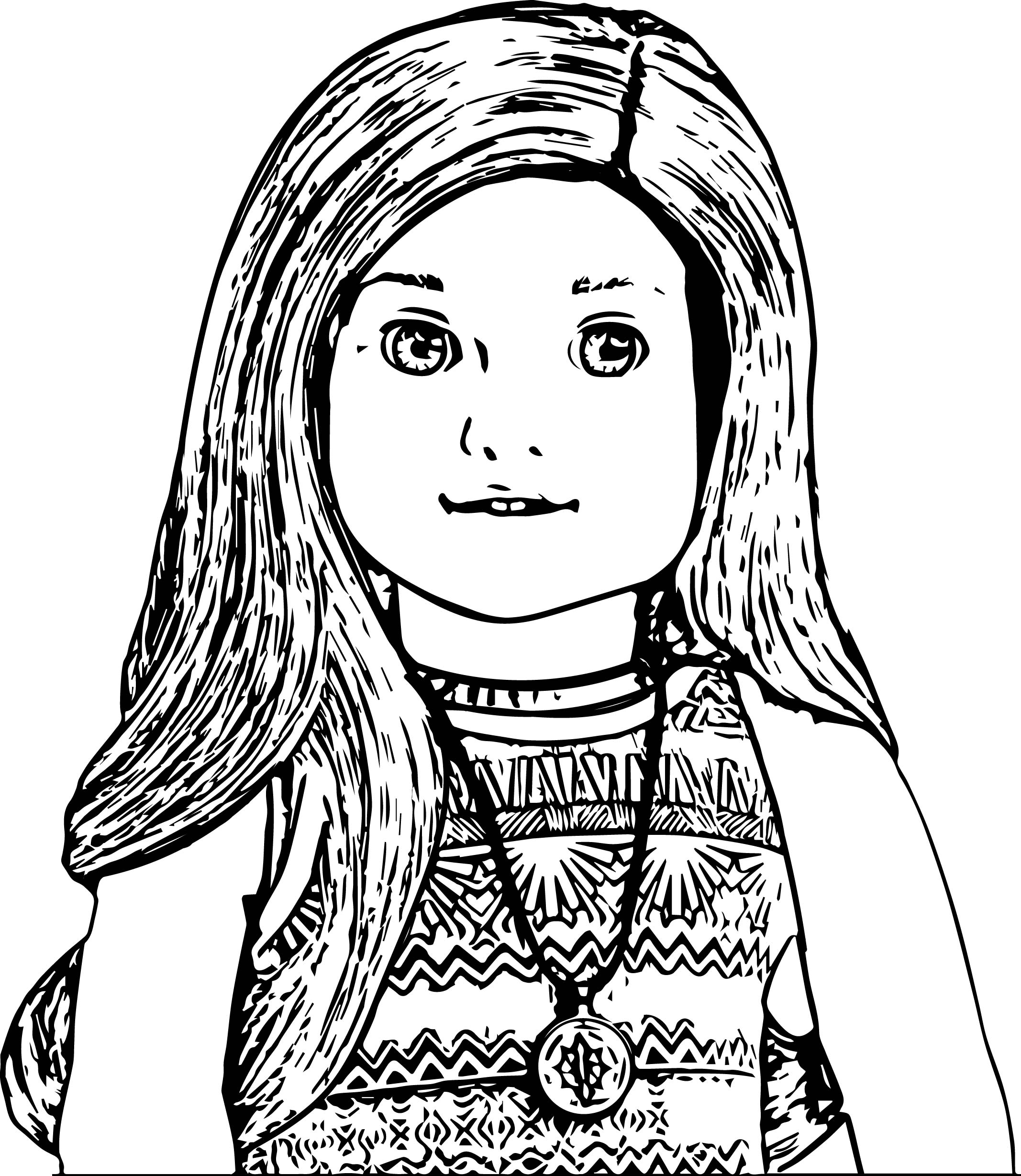 American doll lea closeup coloring page for American girl doll coloring page
