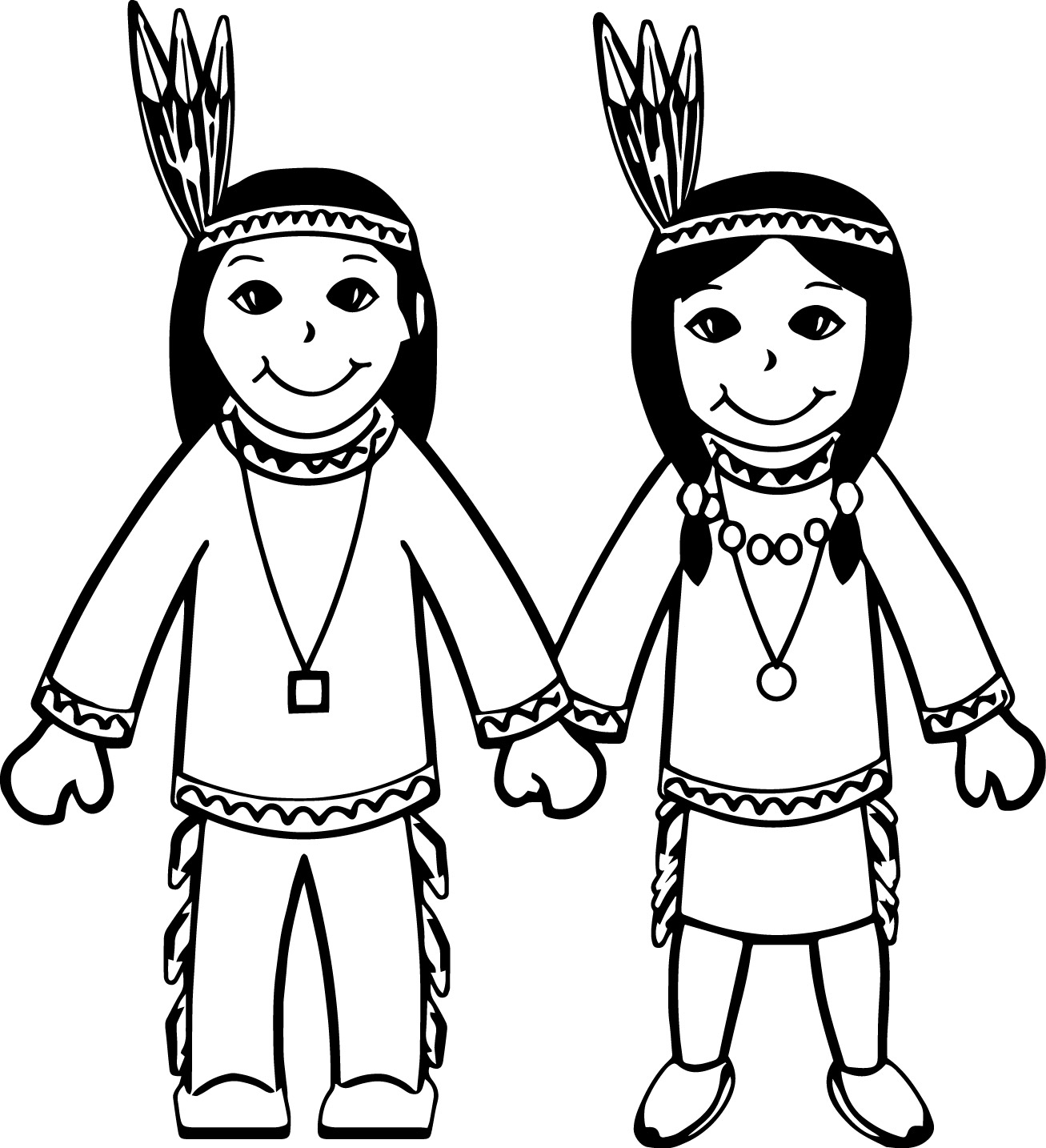 american indian cartoon boy and girl coloring page - Girl Indian Coloring Pages