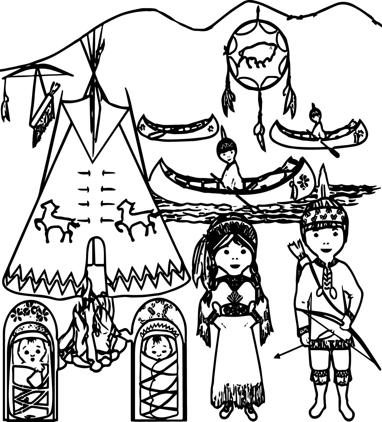 indians coloring pages - american indian family coloring page