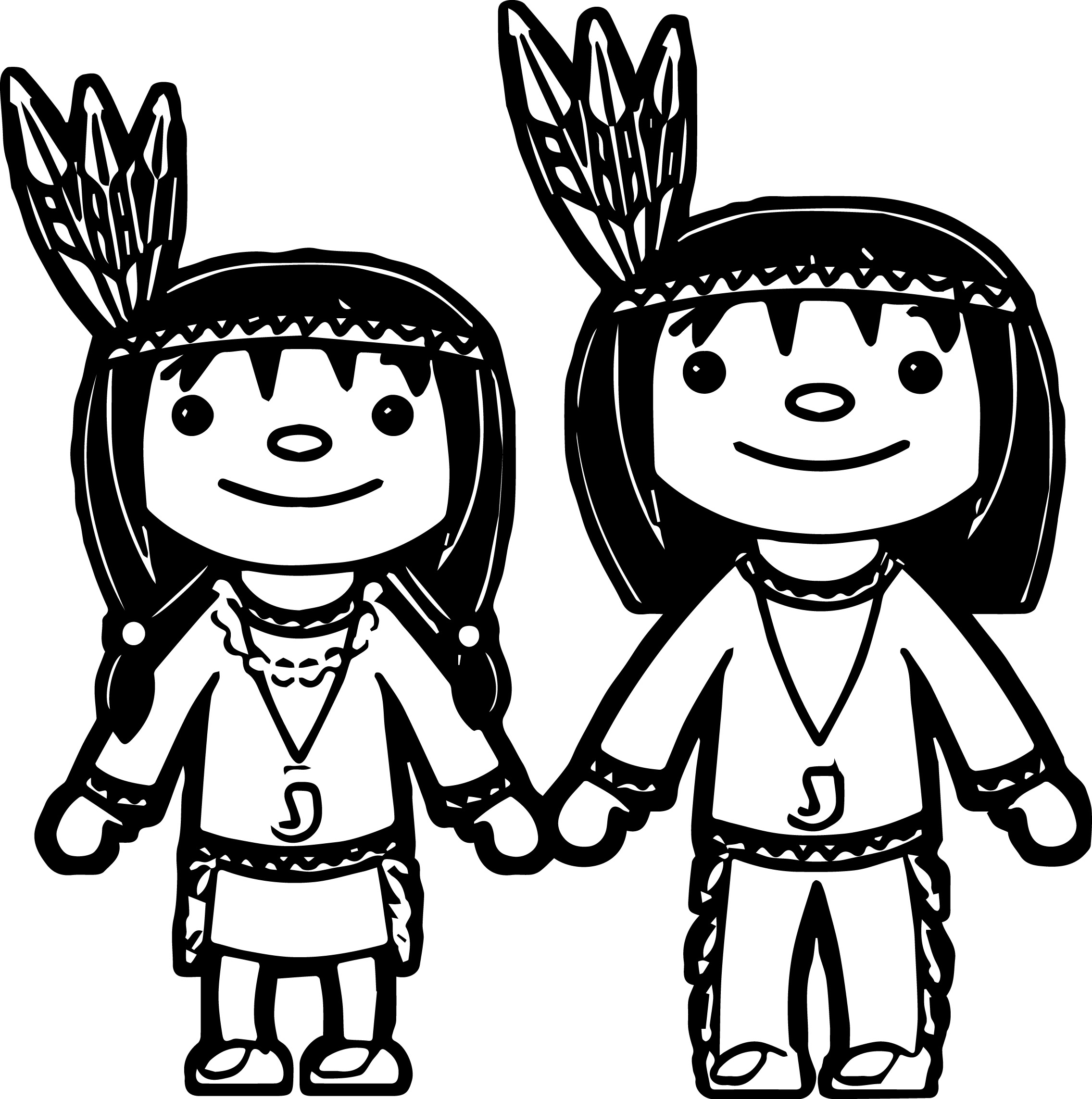 American Indian Girl And Boy Coloring Page | Wecoloringpage.com