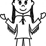 American One Girl Indian Coloring Page