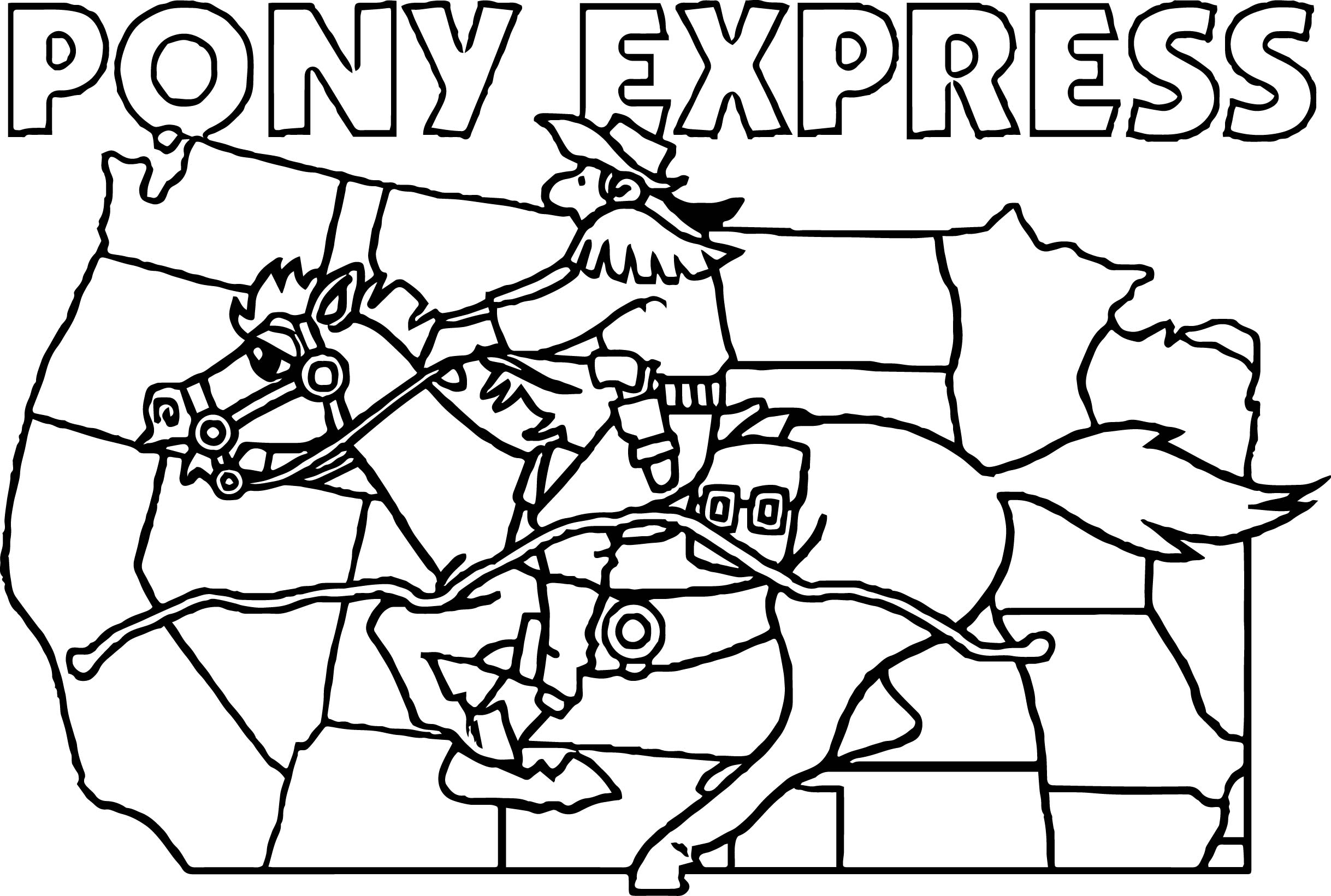 American Revolution Banner Pony Express Coloring Page