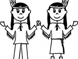 American Two Girls Indian Coloring Page