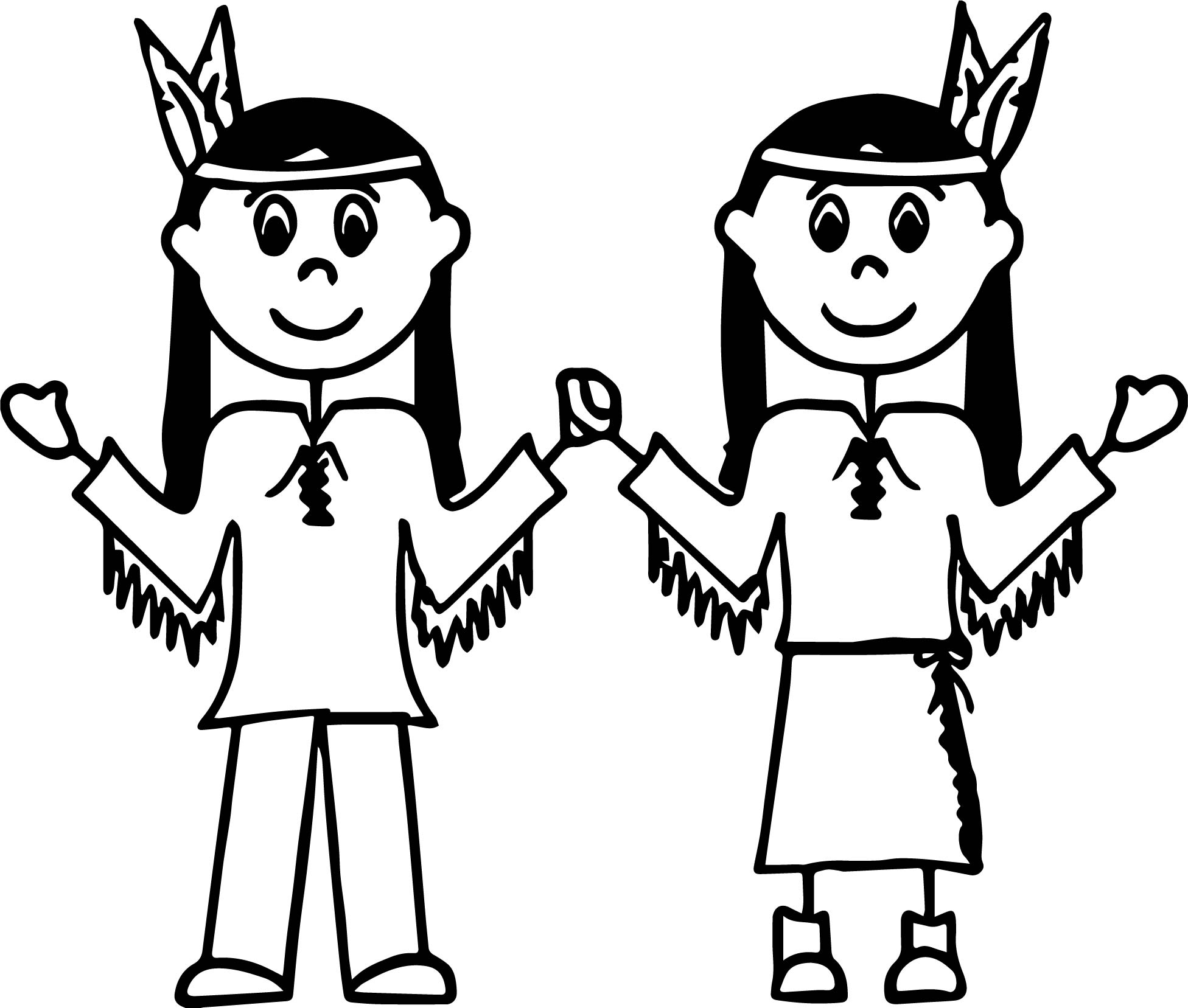 american two girls indian coloring page - Girl Indian Coloring Pages