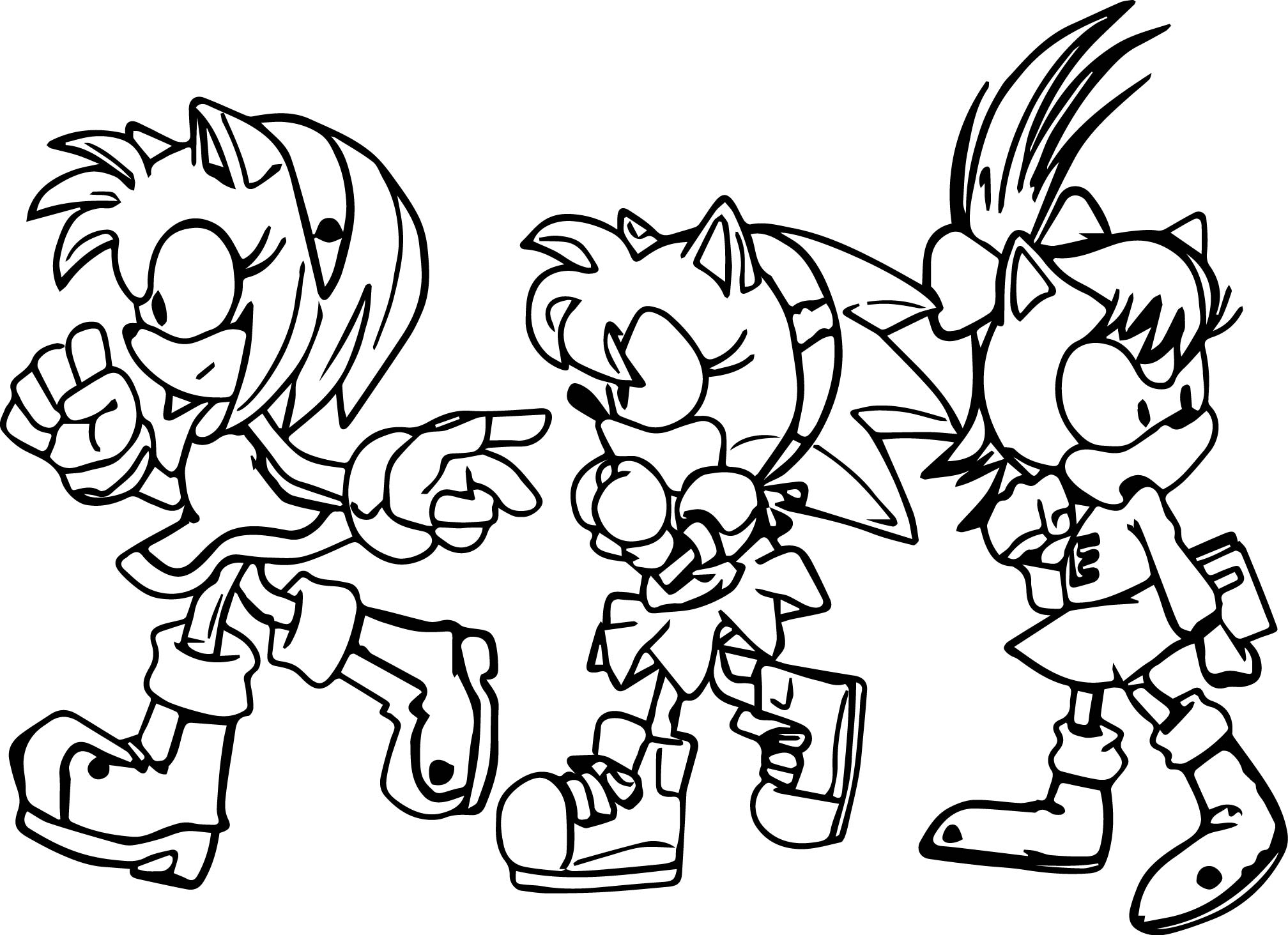 Amy Rose And Friends Coloring Page