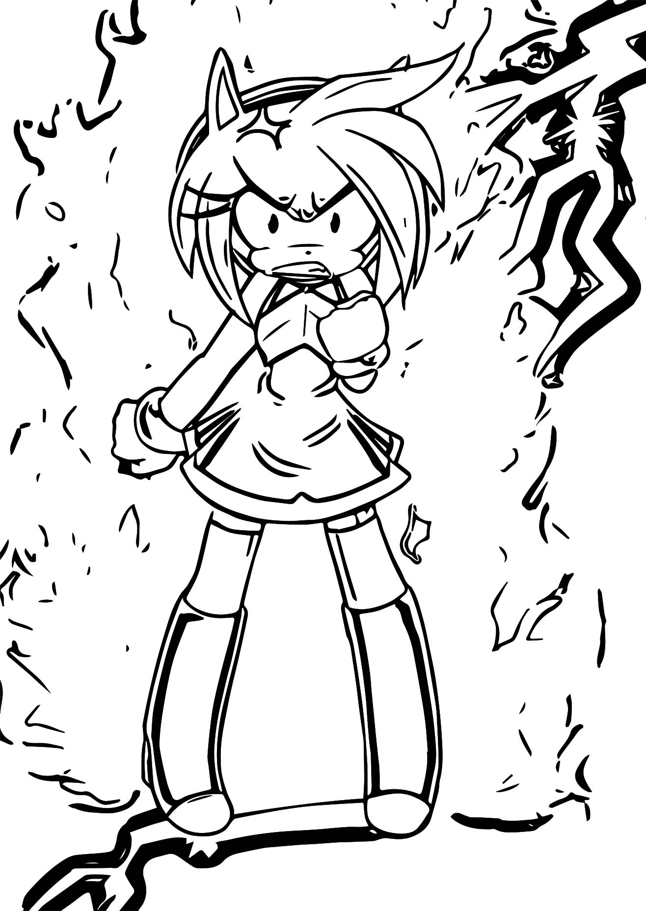 amy rose angry shock coloring page wecoloringpage