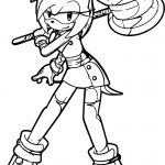 Amy Rose Big Hammer Coloring Page