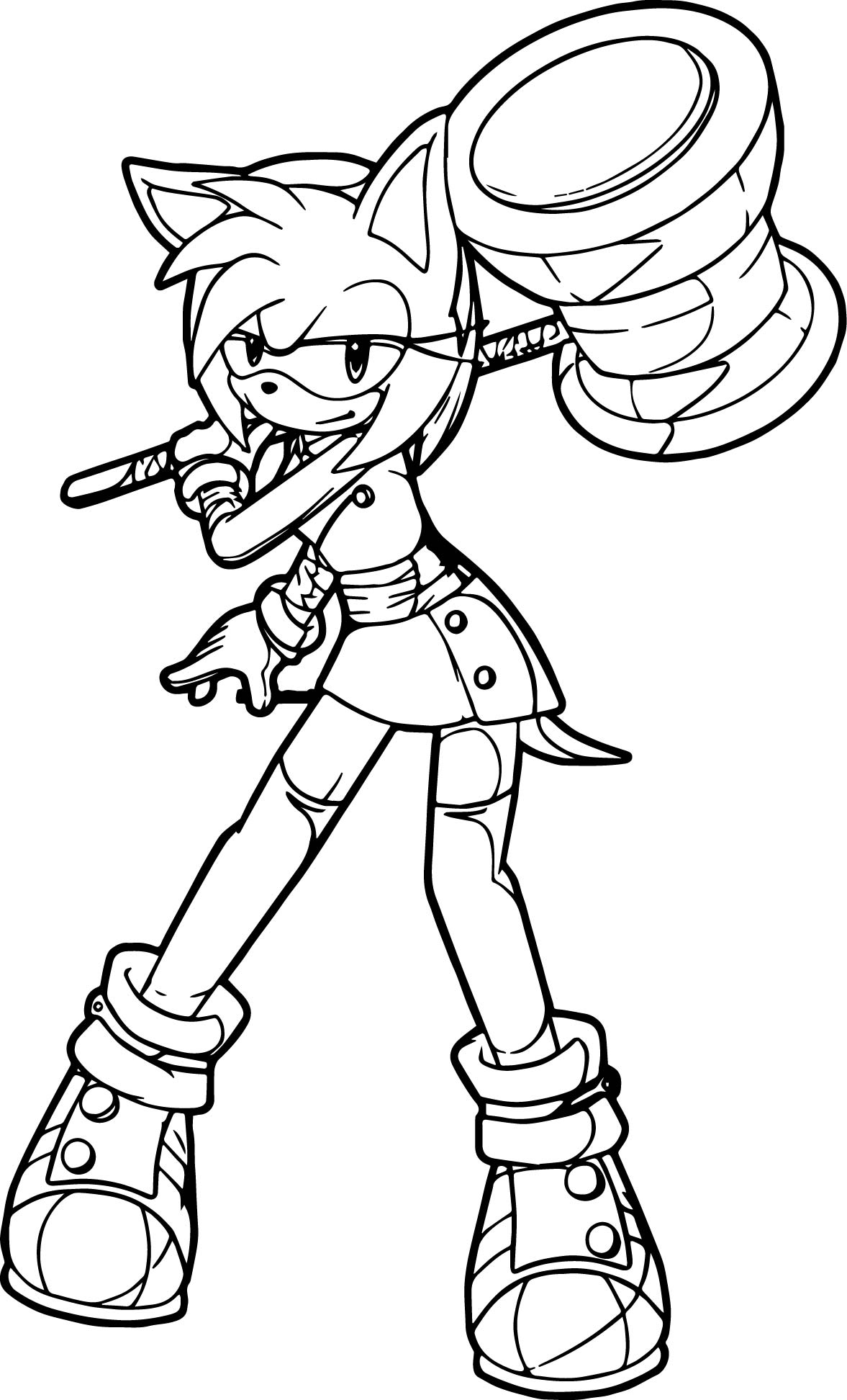 Amy Rose Big Hammer Coloring Page  Wecoloringpage
