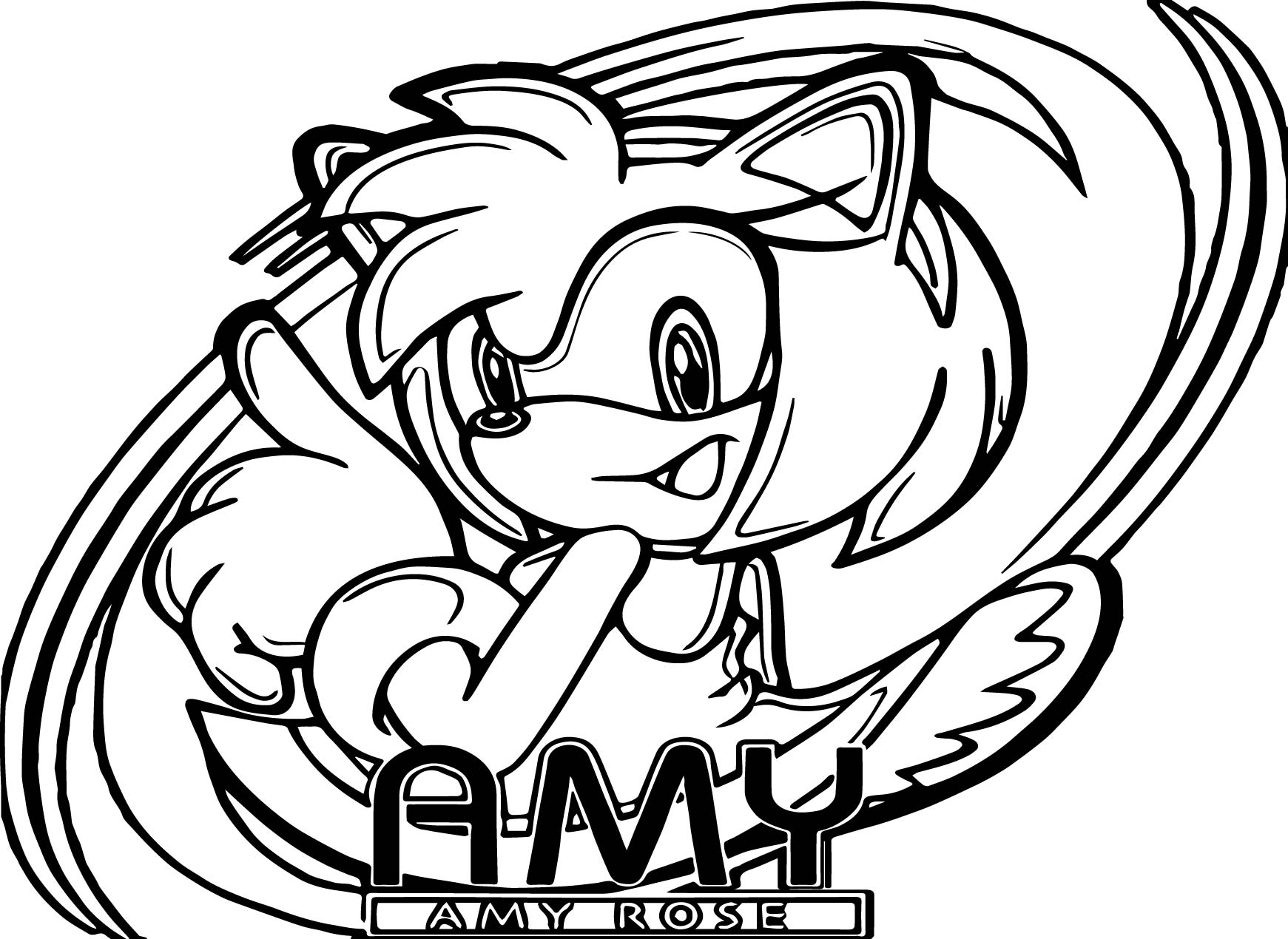 Amy Rose Here Coloring Page