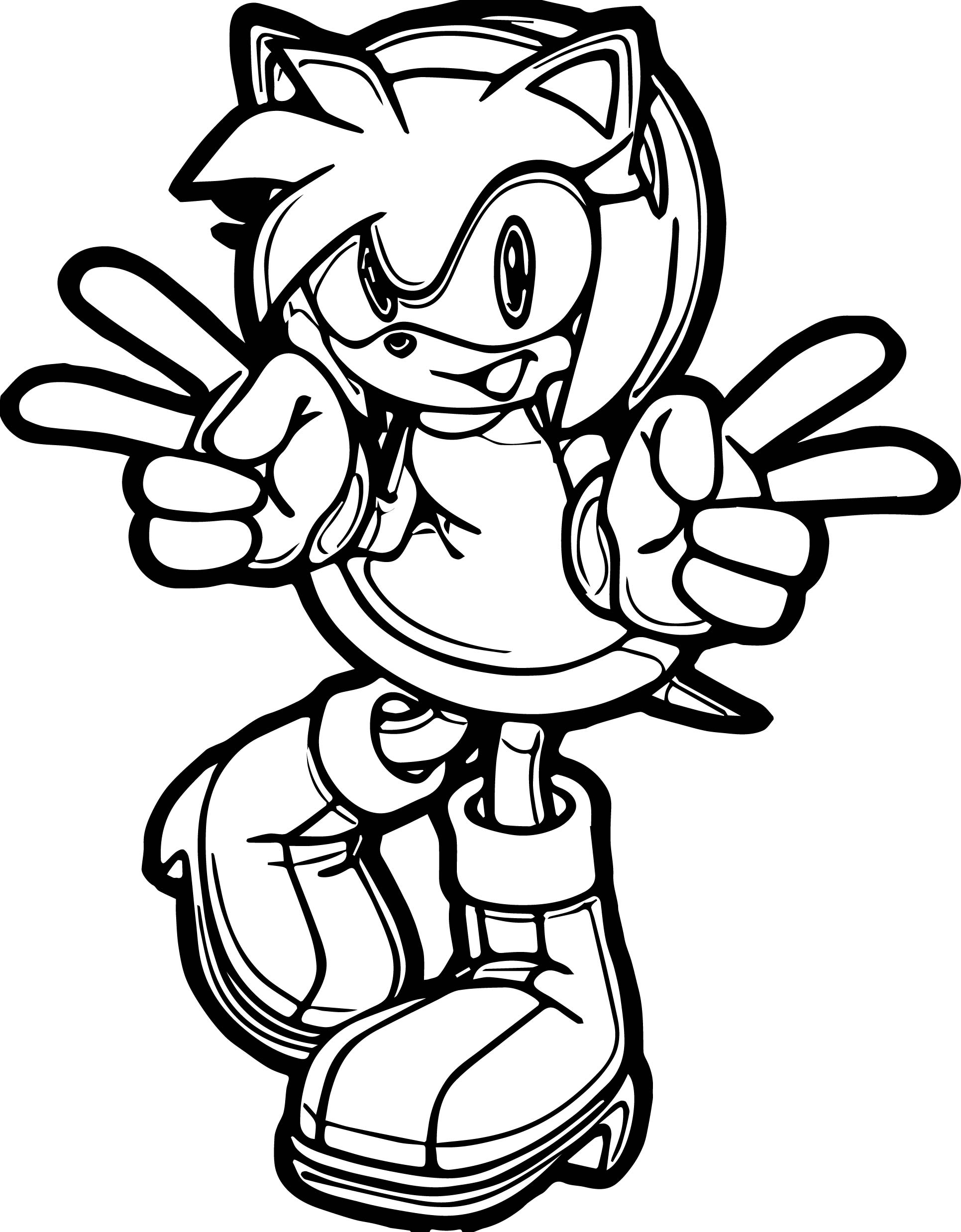Amy Rose Peace Coloring Pages