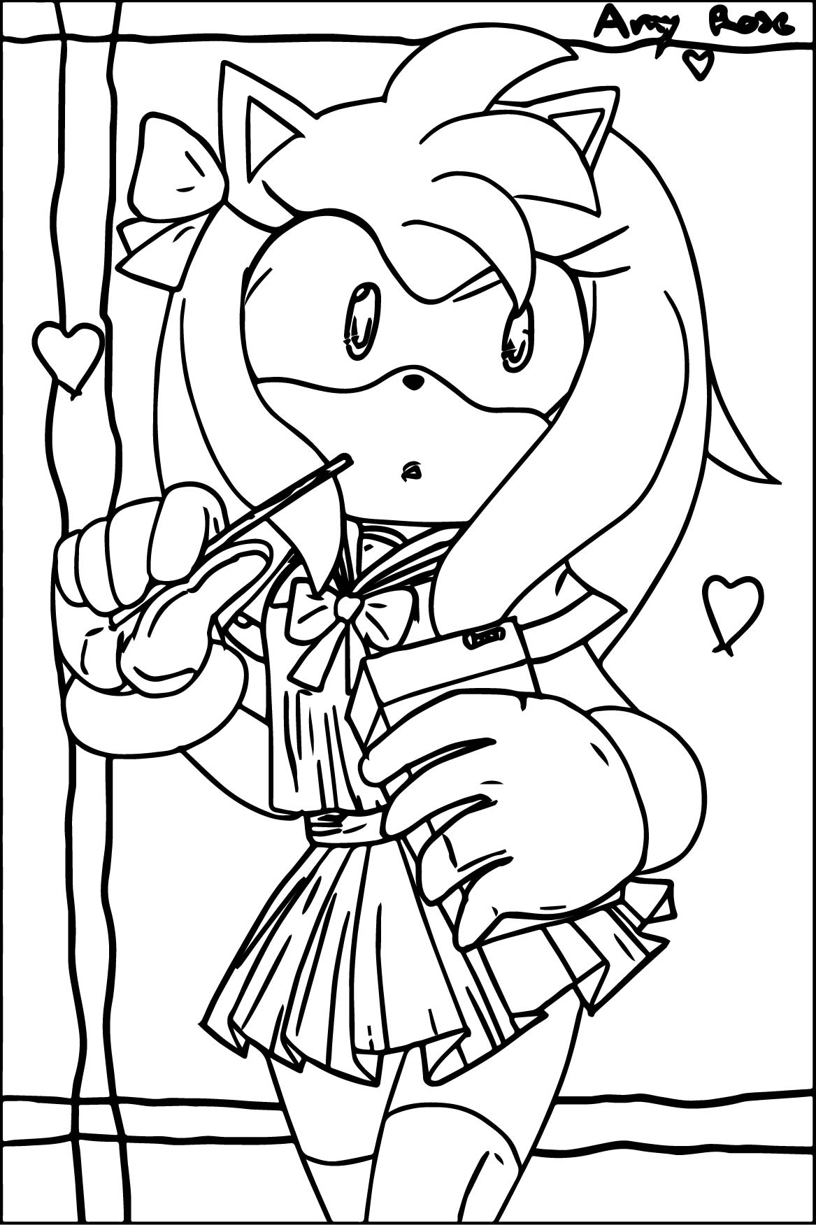 Amy Rose Student Coloring Page