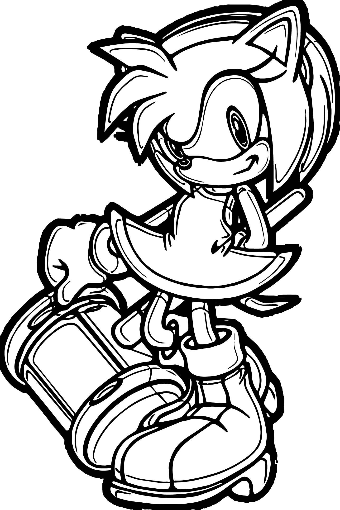 amy rose style coloring page wecoloringpage