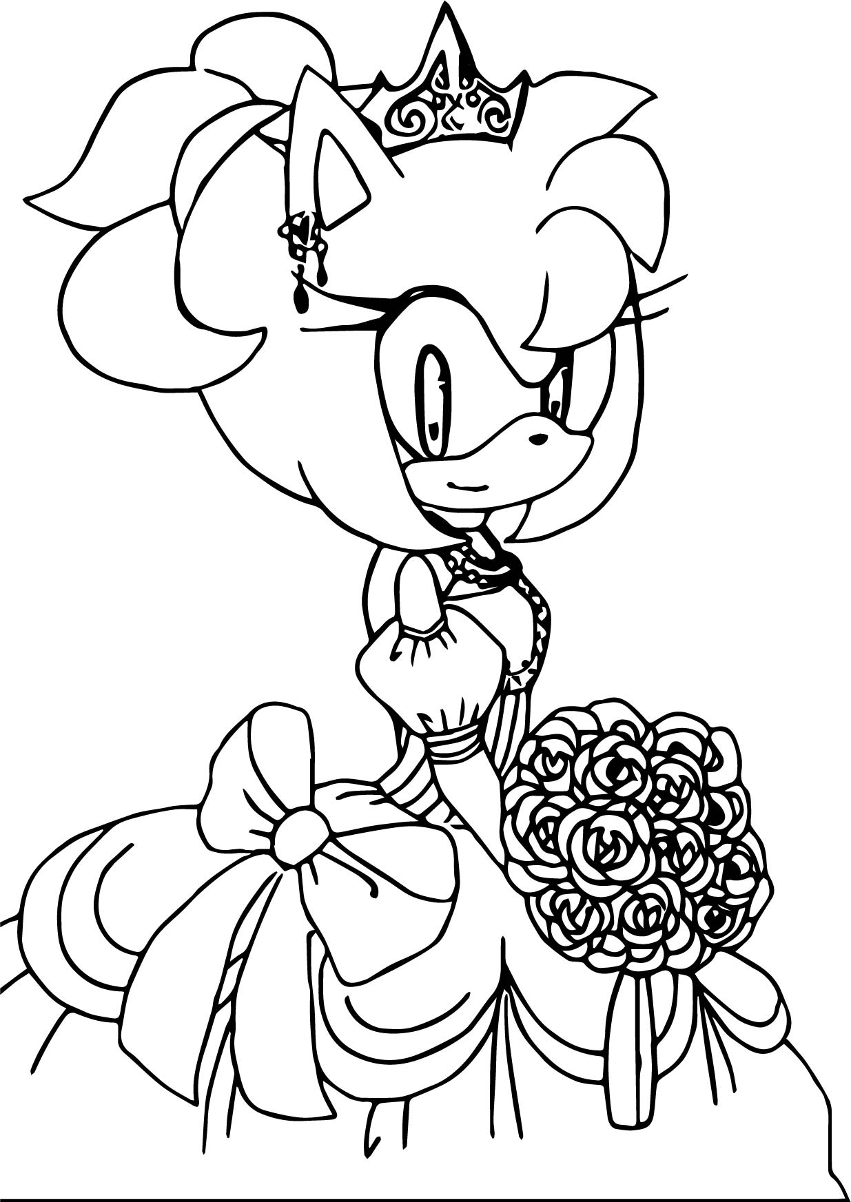 Amy Rose Wedding Girl Coloring Page