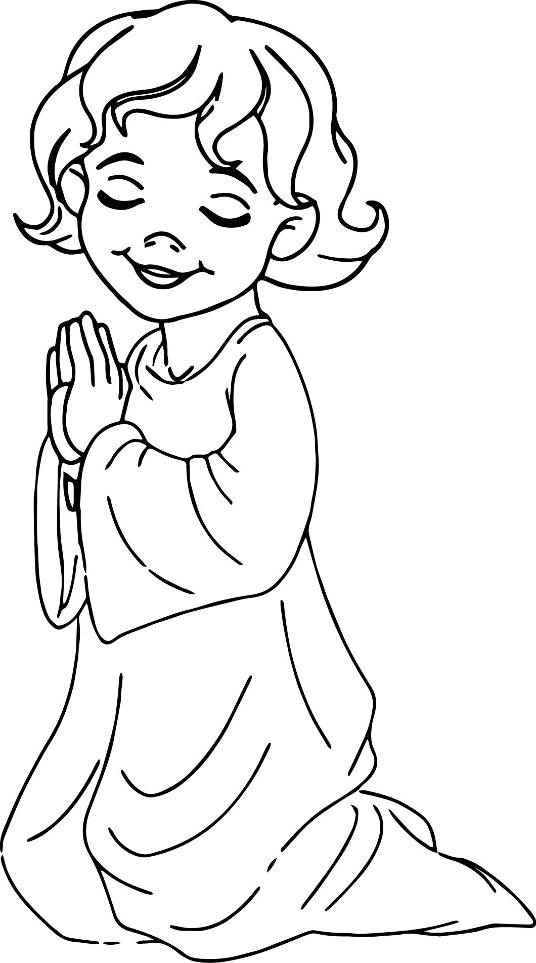 Angel Beautiful Kids Girl Prayer Coloring Page