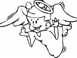 Angel Boy Flying Coloring Page