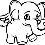 Angel Elephant Cartoon Coloring Page