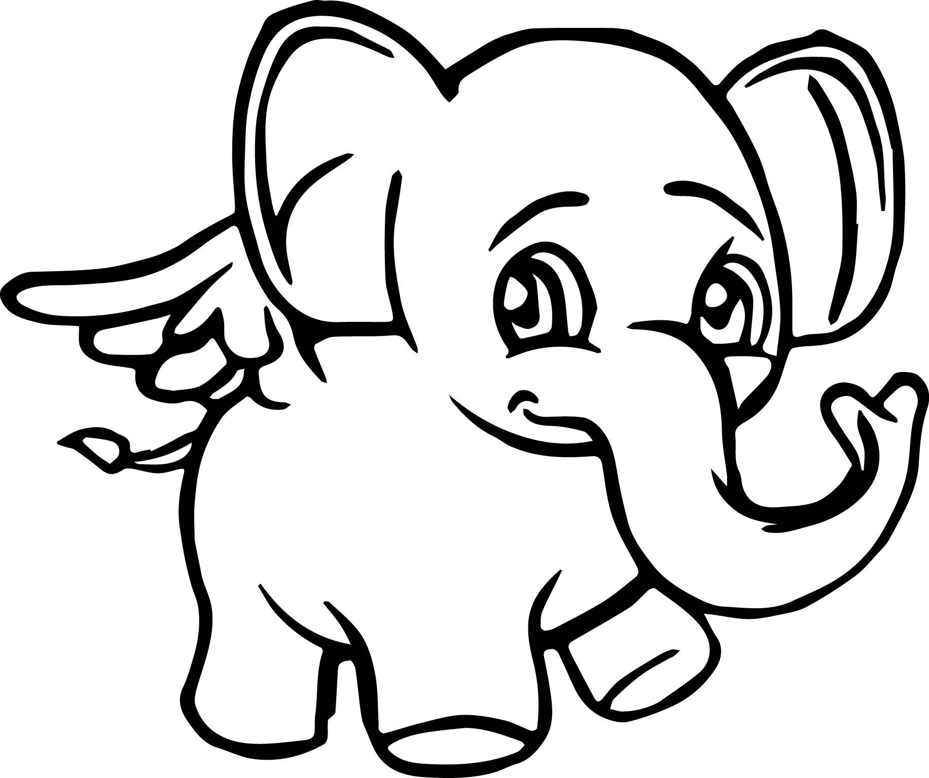 Angel Elephant Cartoon Coloring Page
