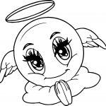 Angel Emoticon Face Coloring Page