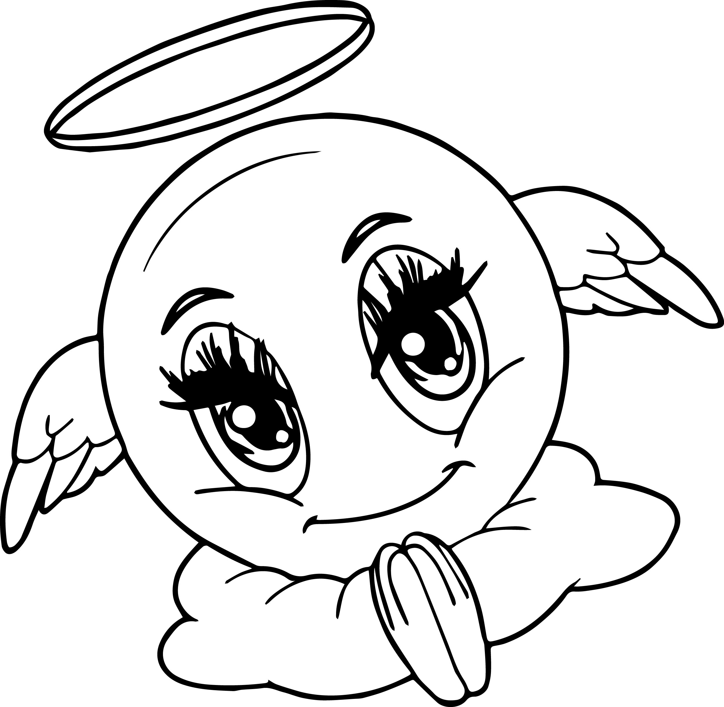 Angel Emoticon Face Coloring Page