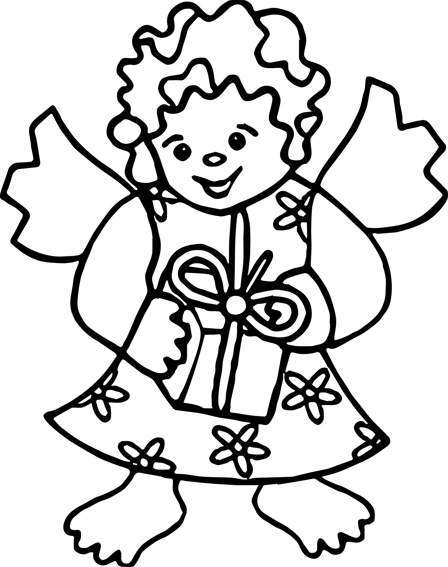Angel Gift Coloring Page