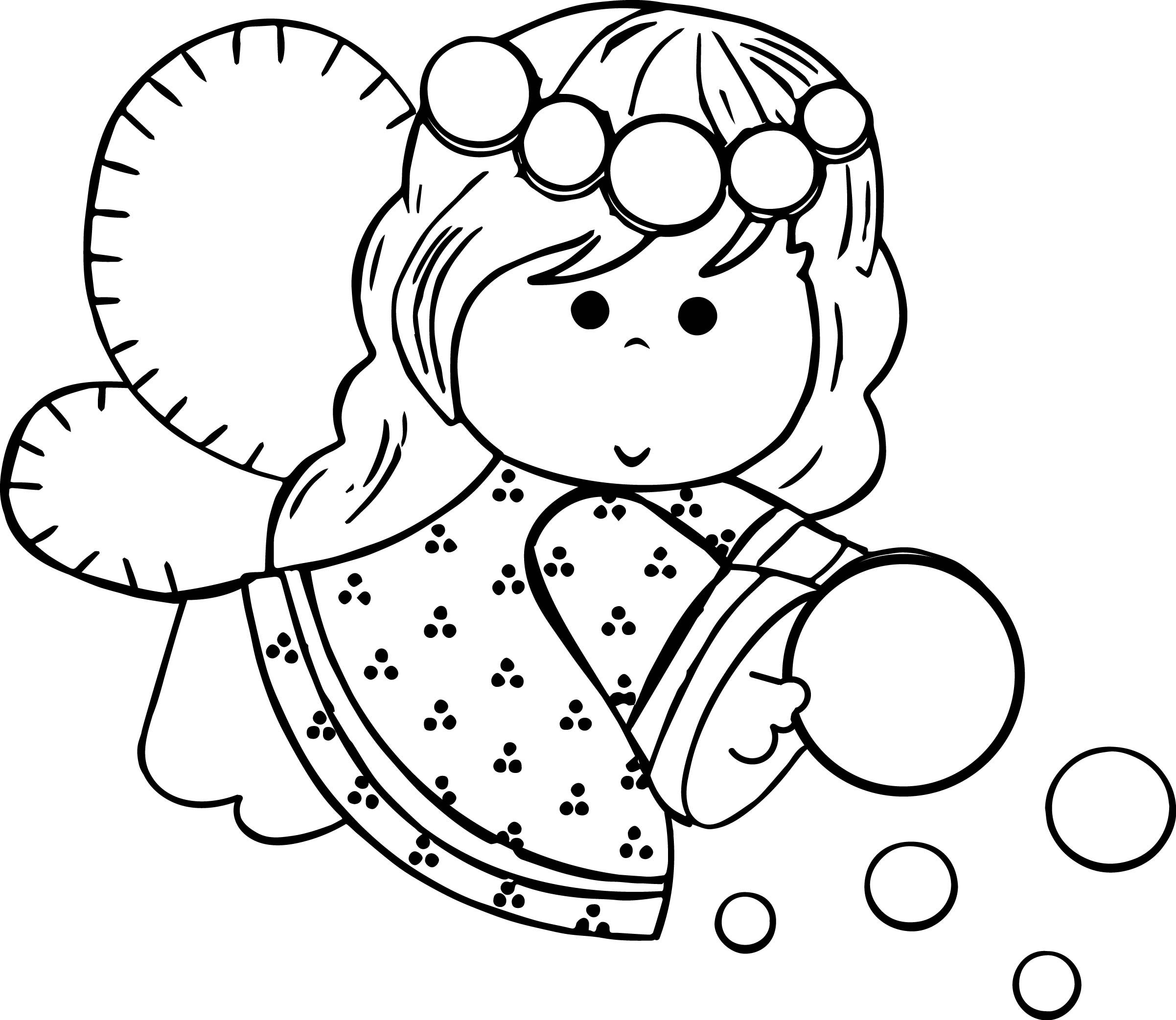 Angel Girl Flying Coloring Page
