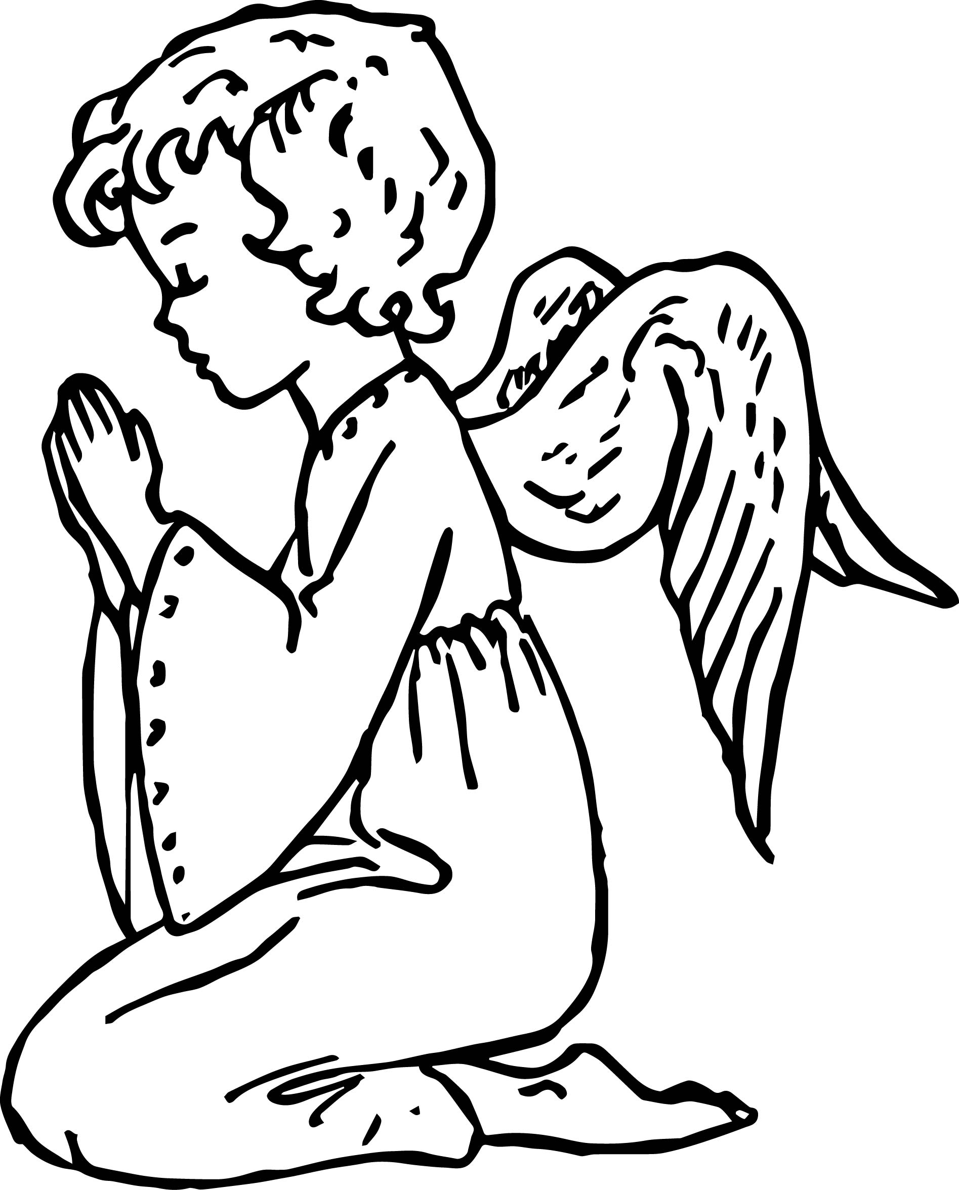 Angel Girl Prayer Coloring Page