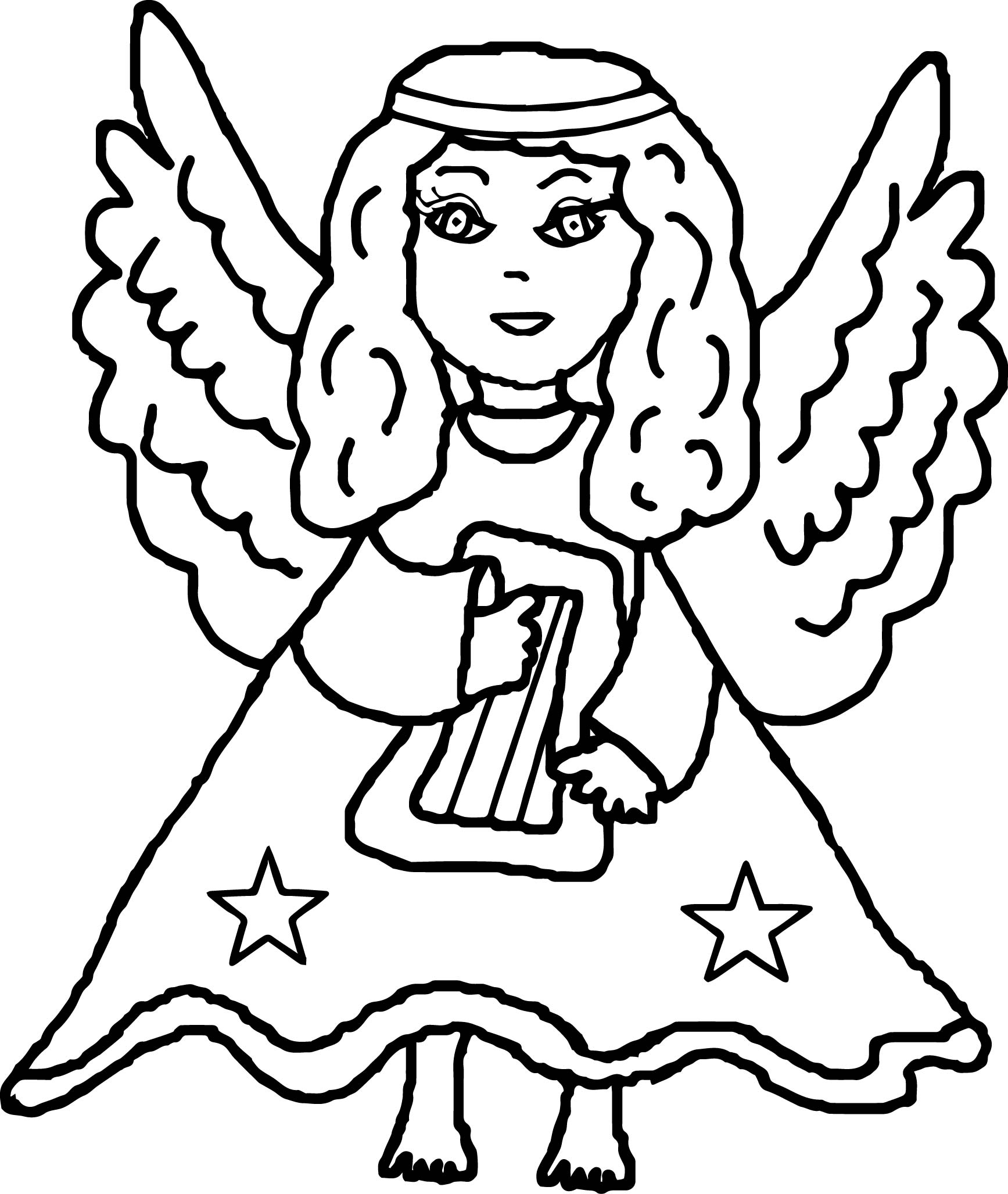 Angel Holding Harp Coloring Page