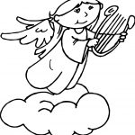 Angel On Cloud Coloring Page