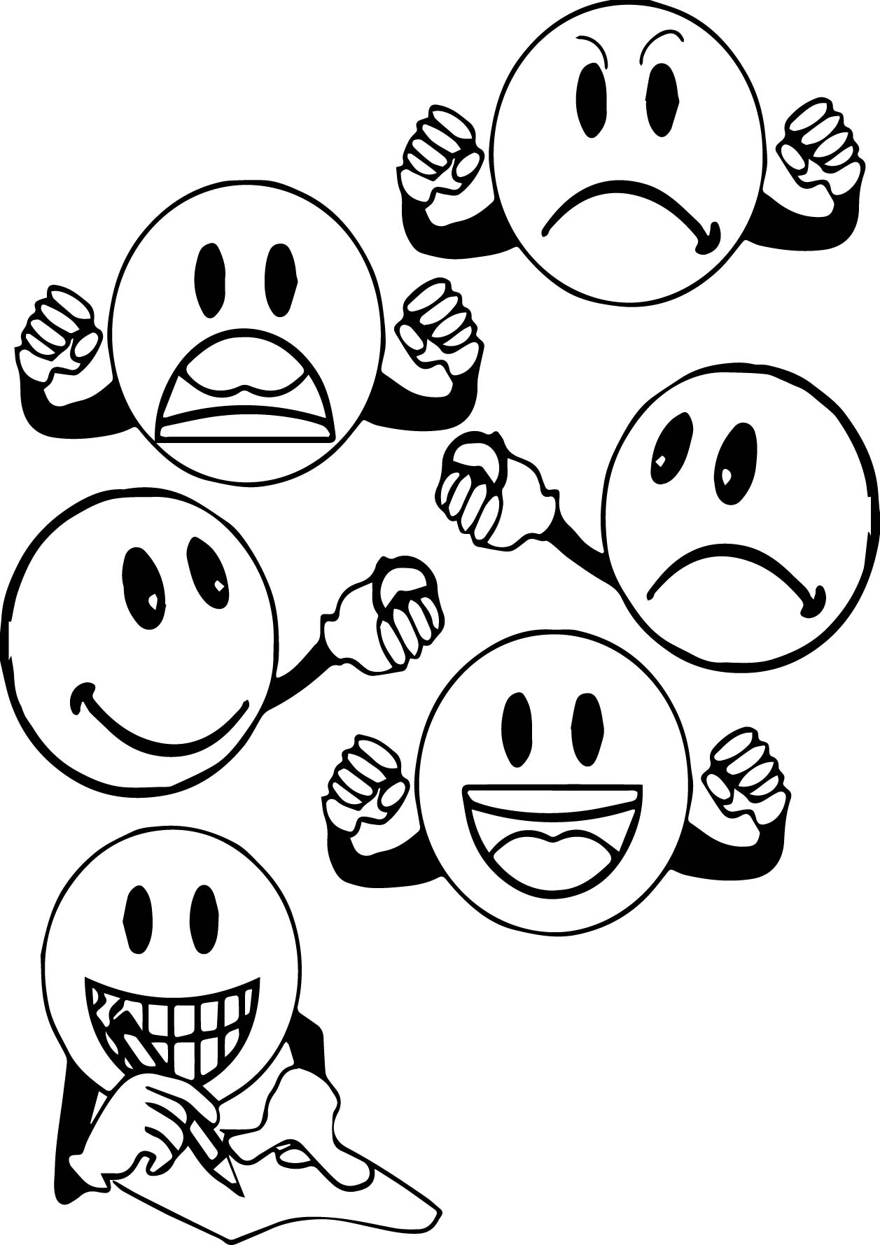 anger management face circle coloring page