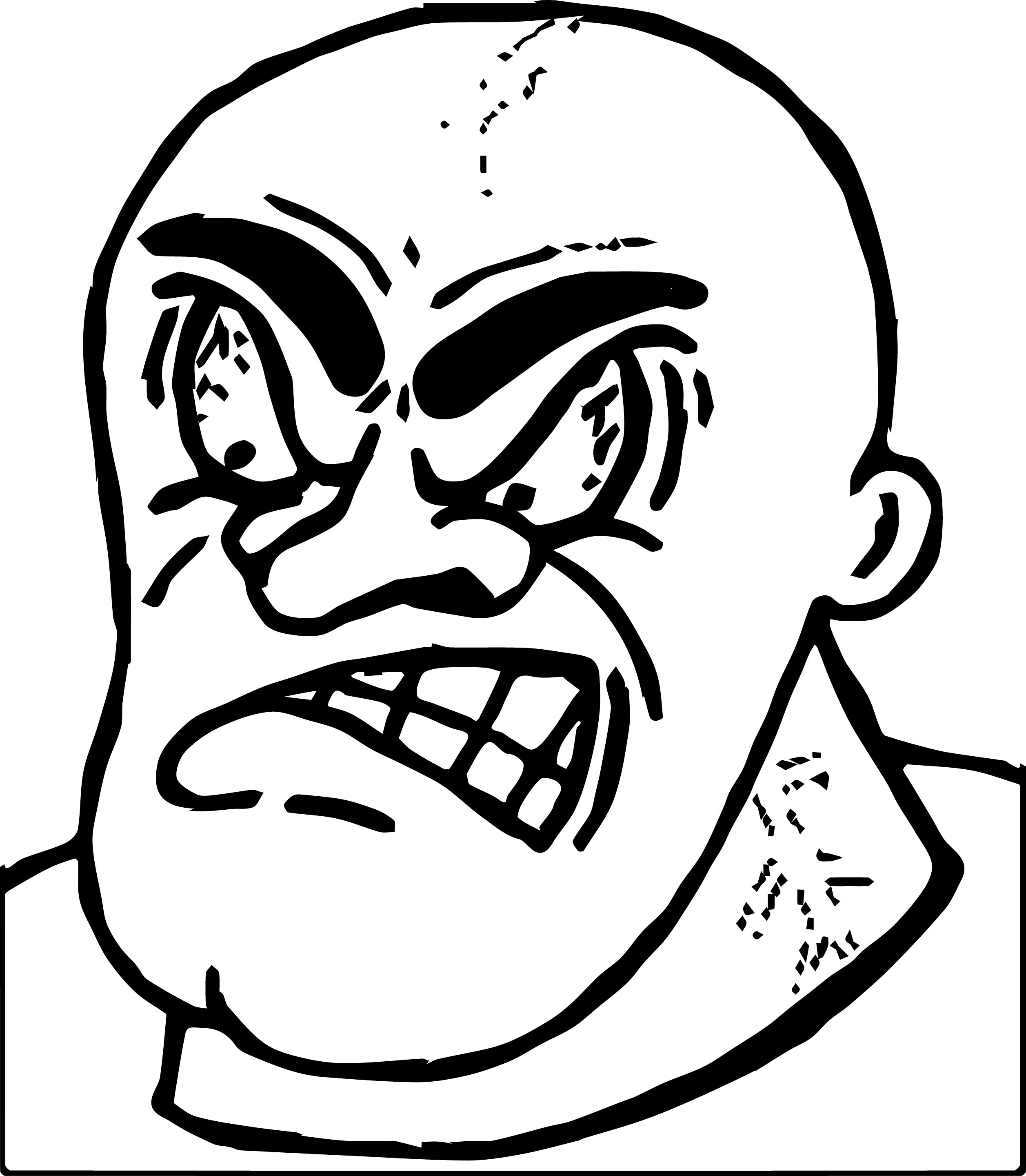 Angry Anger Management Bald Man Coloring Page