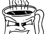 Angry Coffee Mug Coloring Page