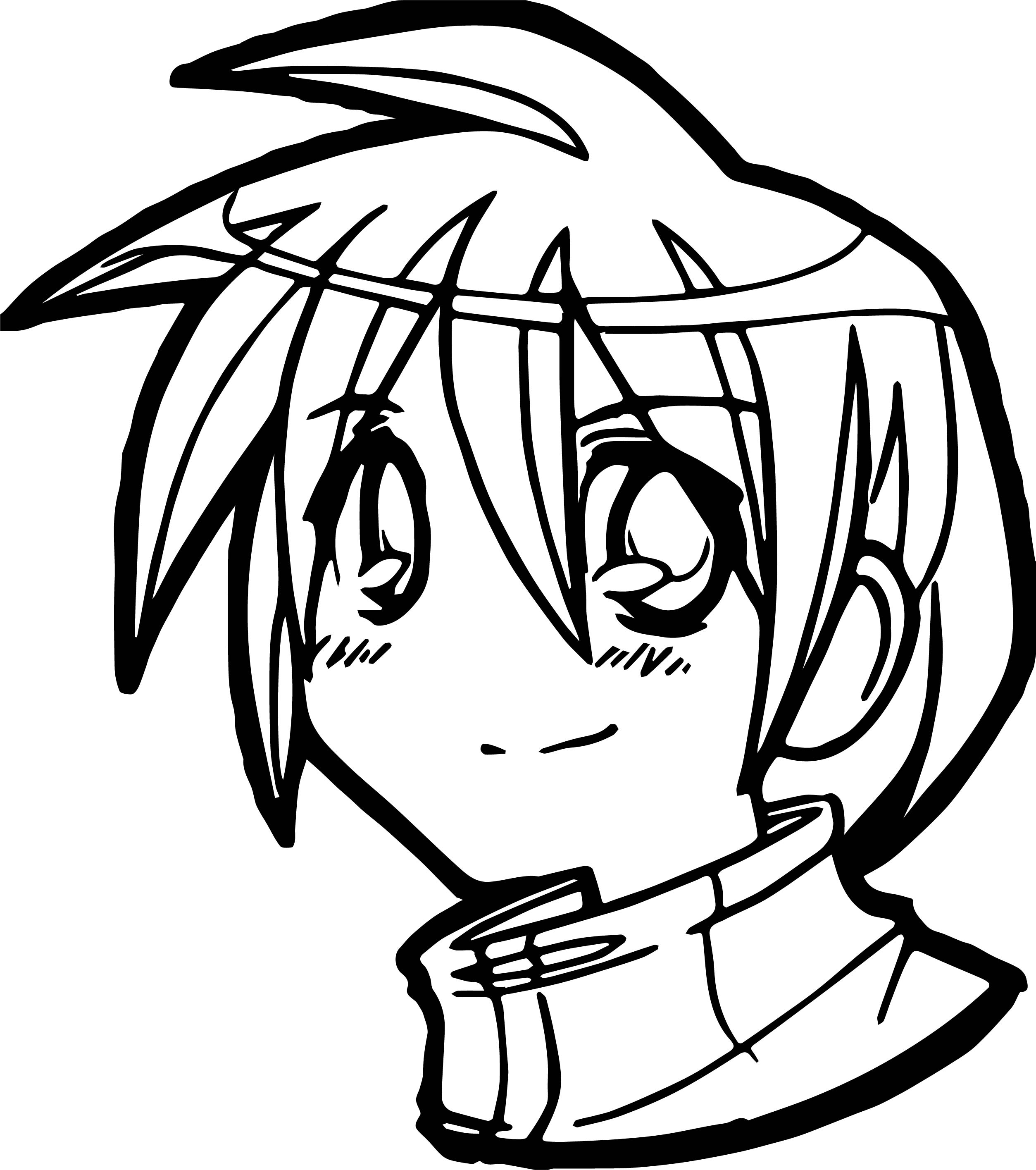 Anime Boy Face Coloring Page