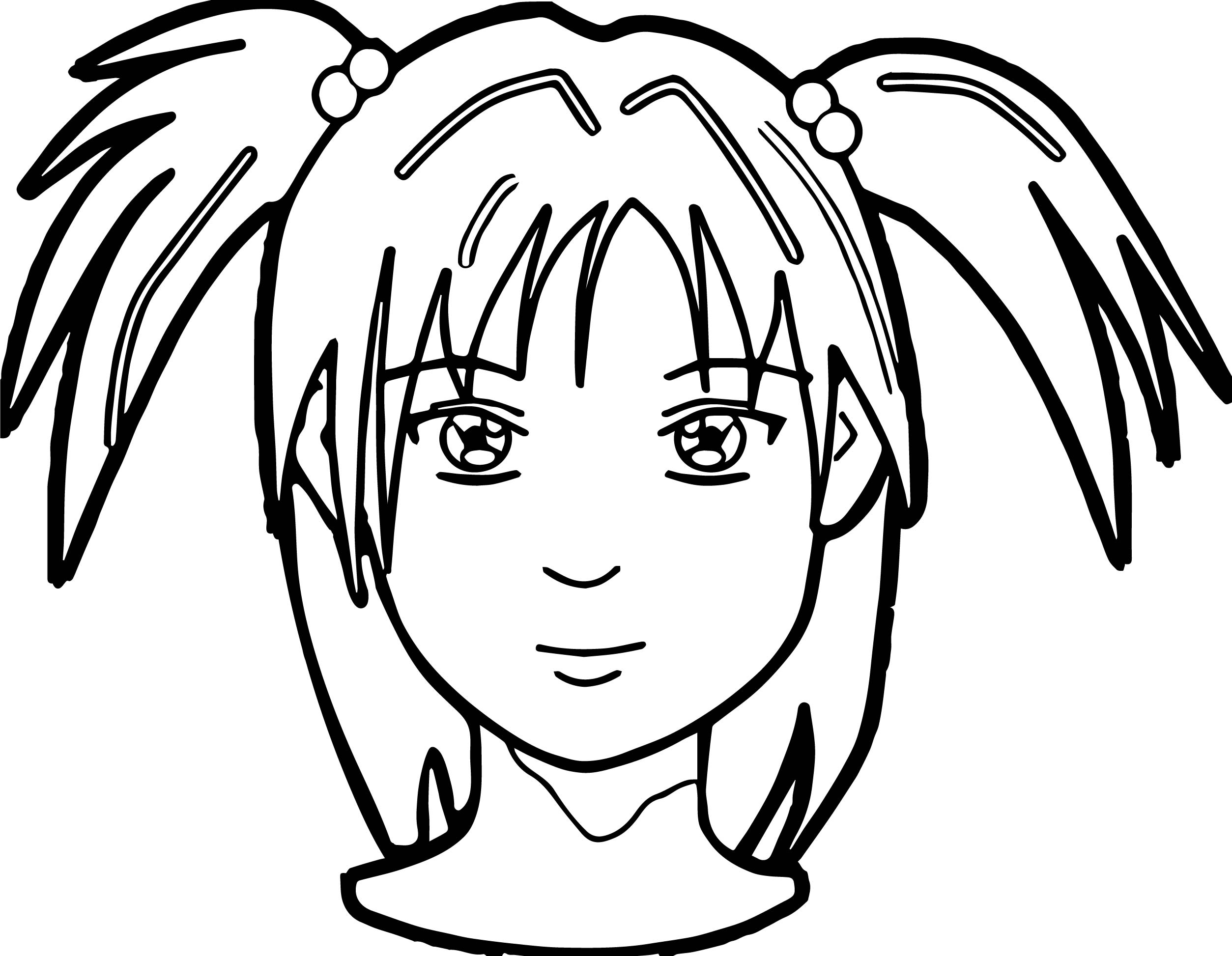 Anime girl face coloring page for Coloring pages of girls faces