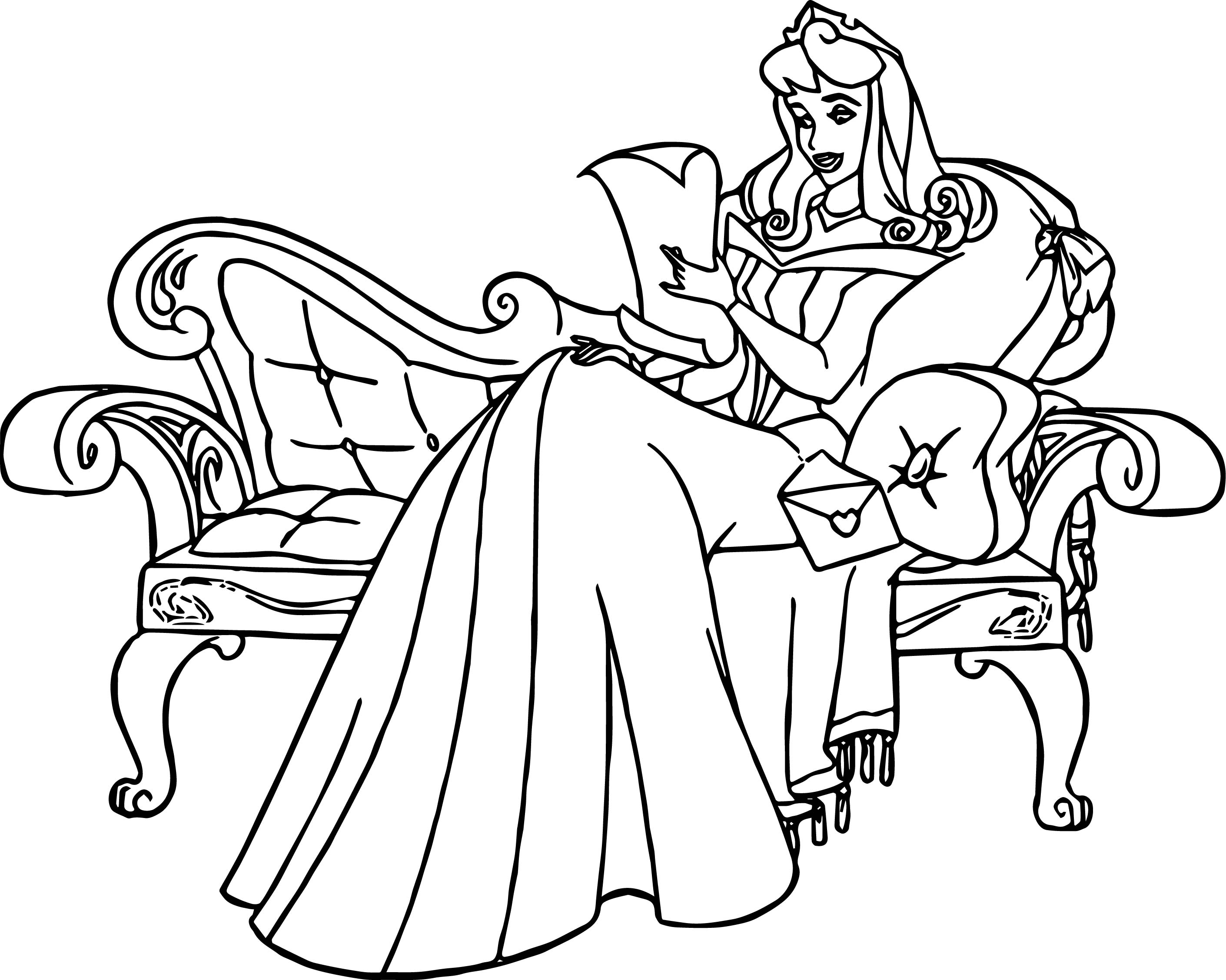 Aurora Chaise Cartoon Coloring Page