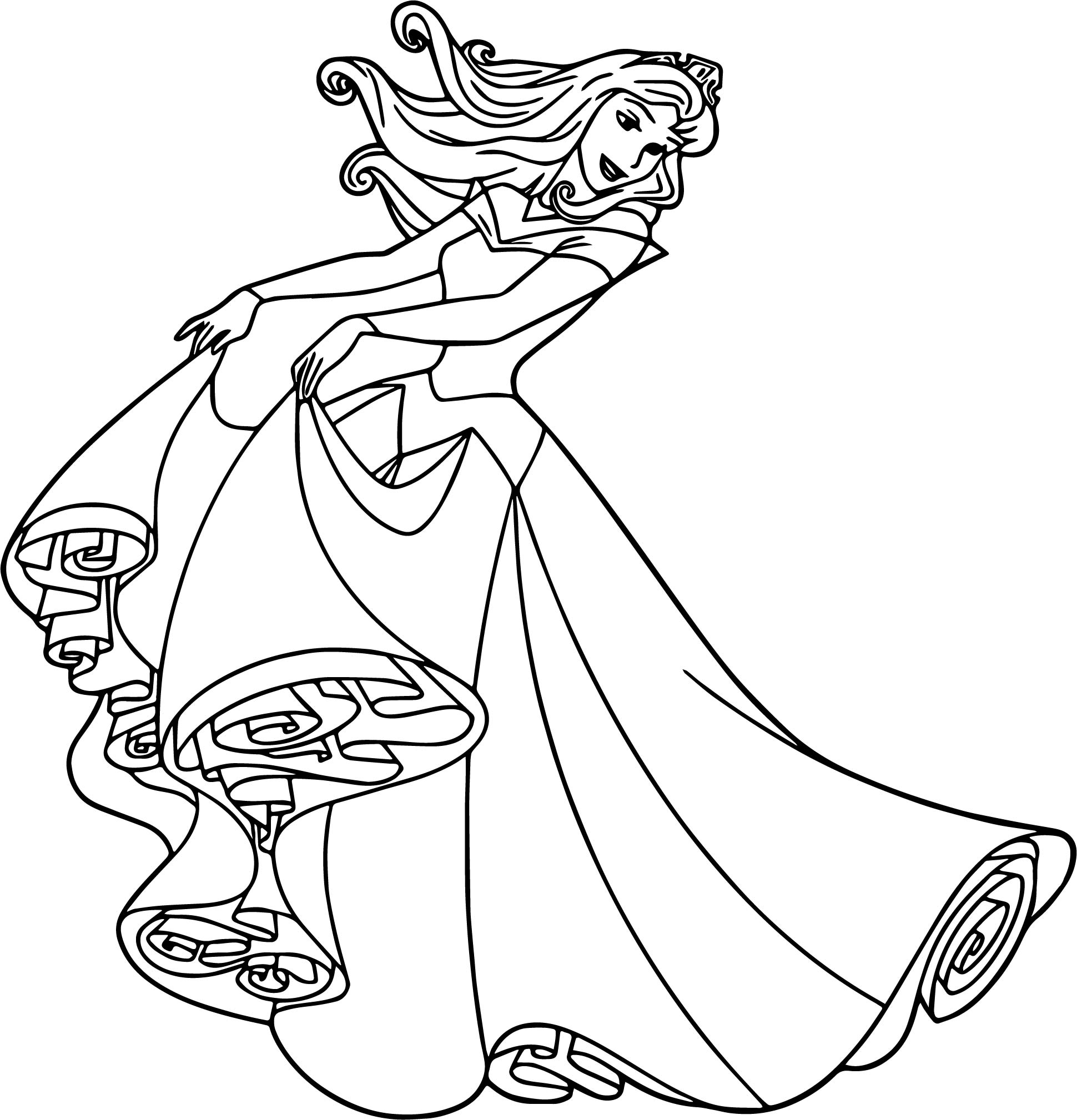 Aurora Dress Cartoon Coloring Page