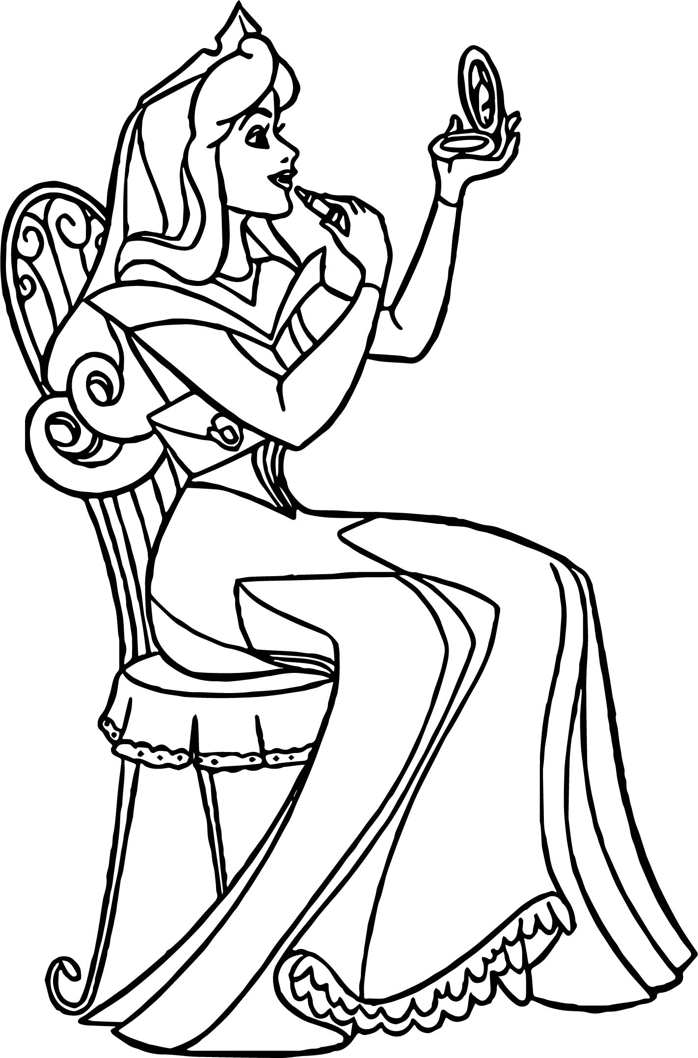 aurora makeup cartoon coloring page wecoloringpage