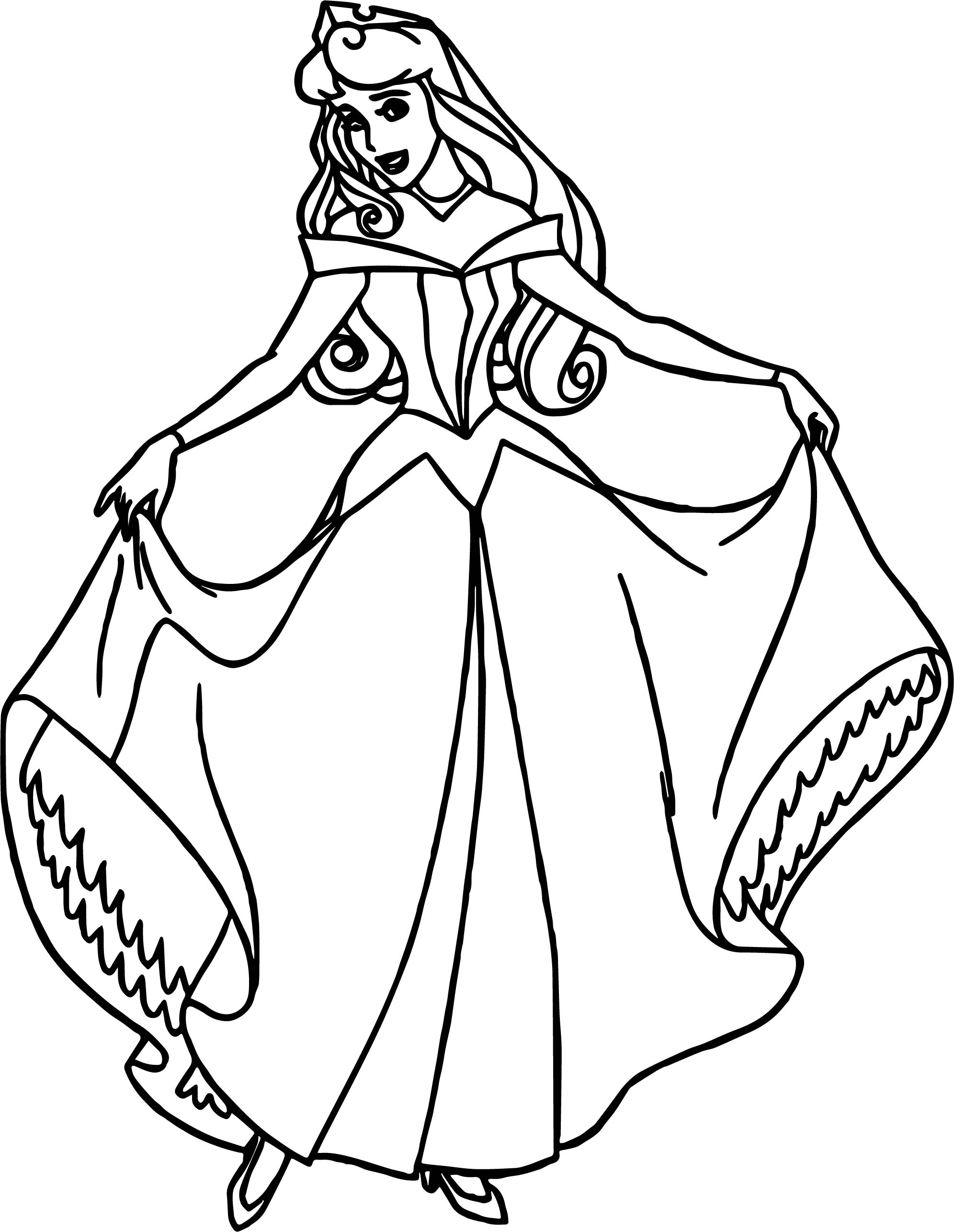 Pretty girl coloring pages - Aurora Pretty Girl Cartoon Coloring Page