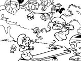 Autumn Smurfs Coloring Pages