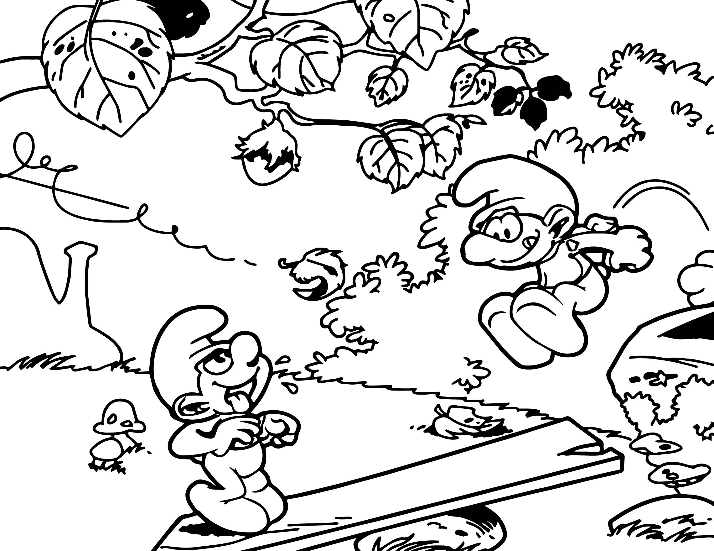 Colouring in pages smurfs - Autumn Smurfs Coloring Pages