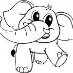 Baby Cartoon Elephant Coloring Page