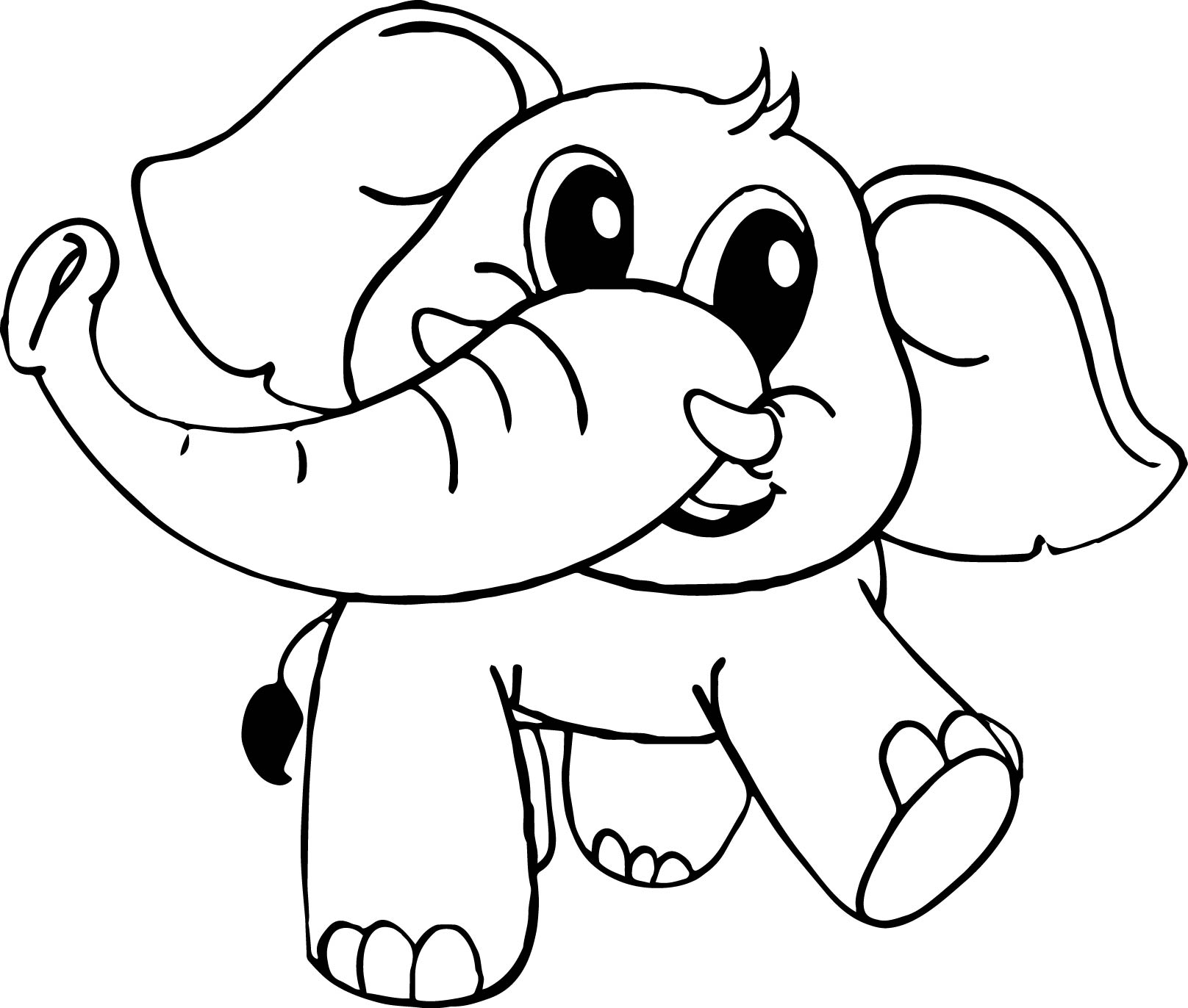Baby cartoon elephant coloring page for Elephant coloring pages