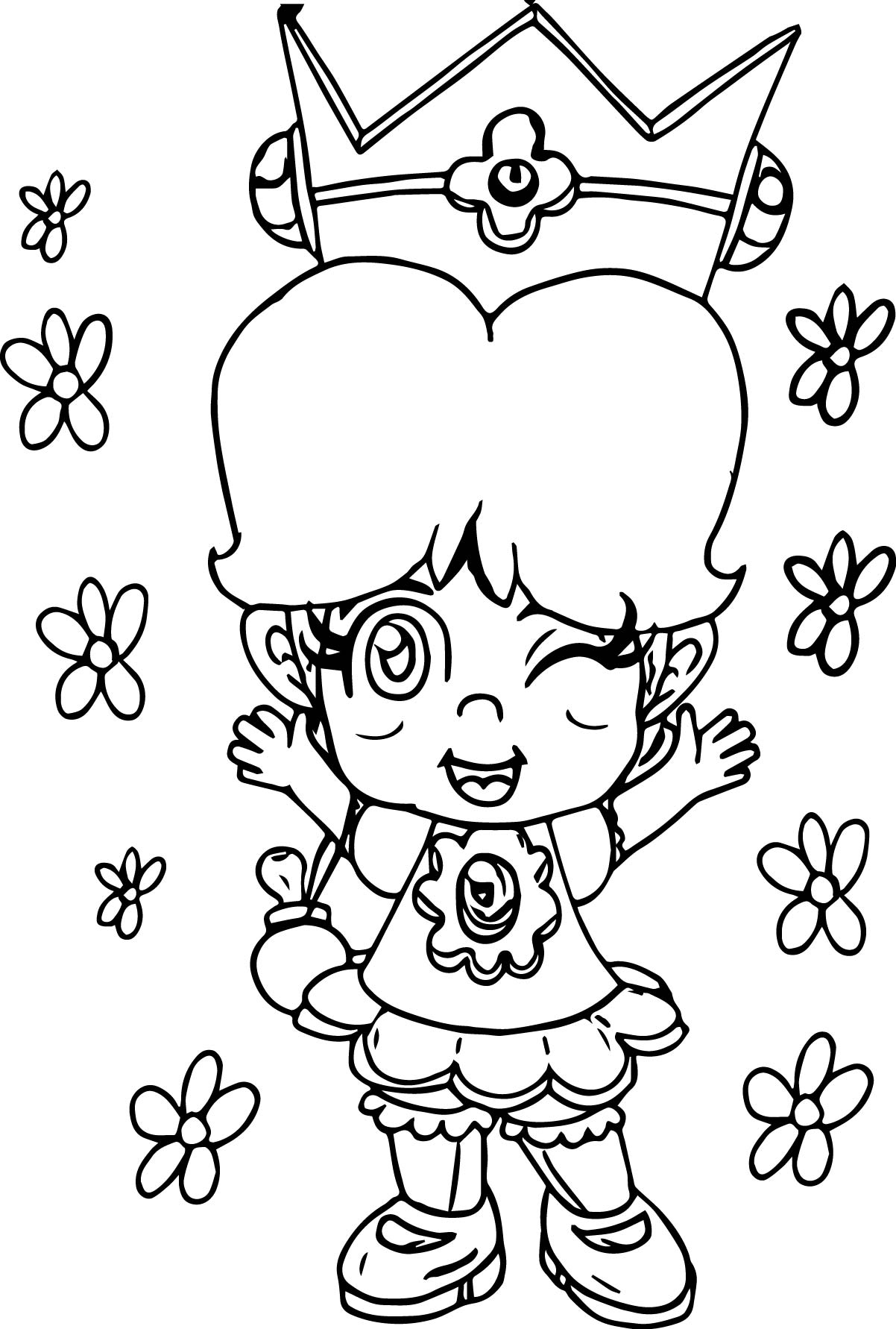 daisy coloring pages to print - baby daisy flower coloring page