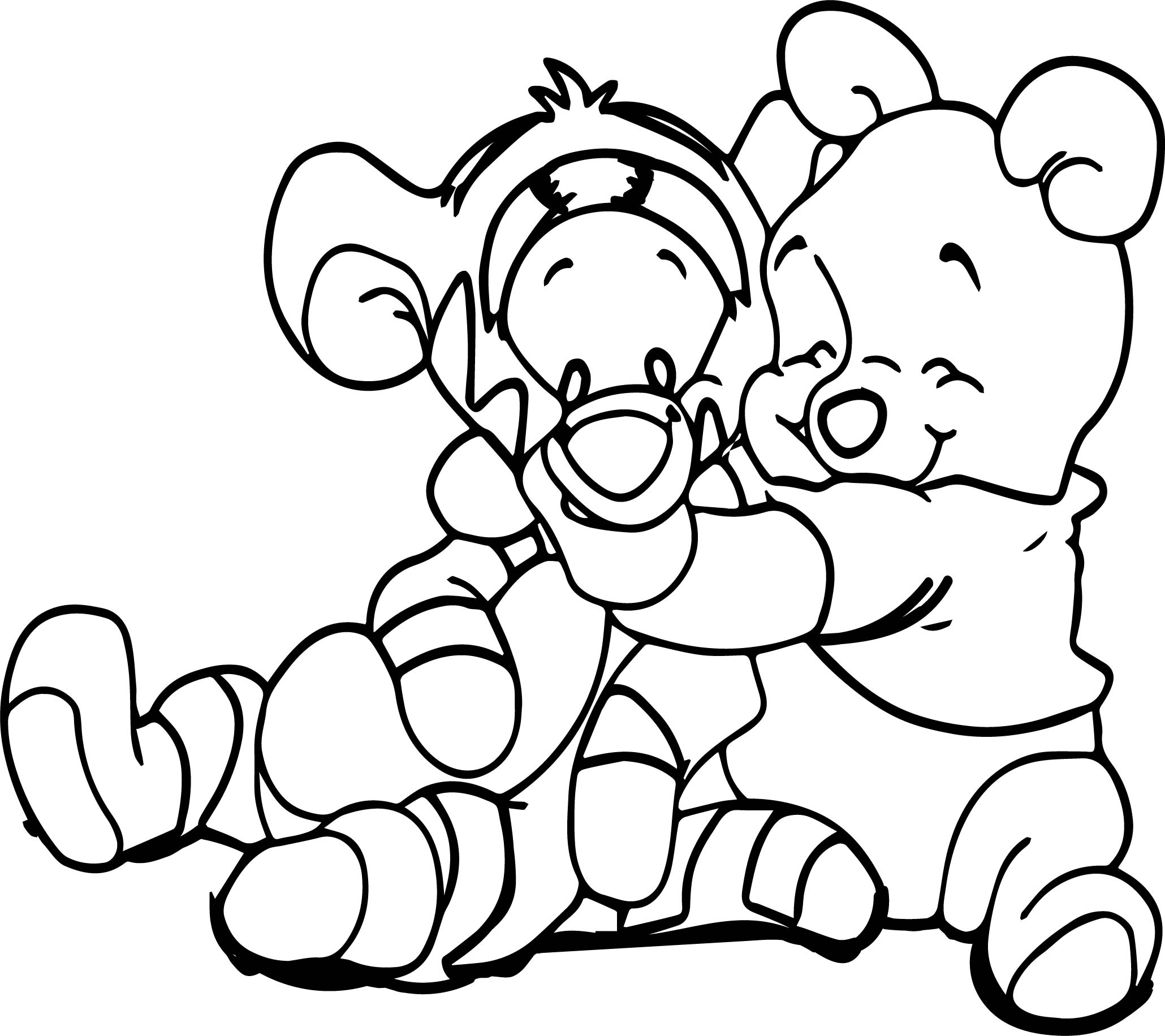 Baby Pooh And Tigger Coloring Page