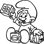 Baby Smurf Playing Toy Coloring Page