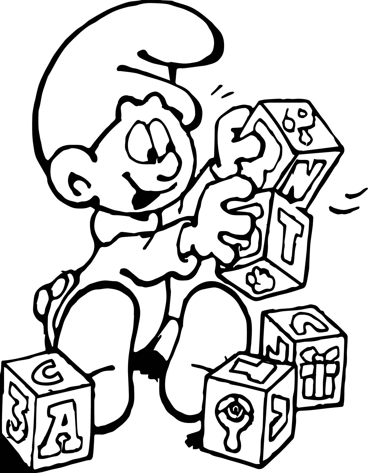 block coloring pages - baby smurf plays with blocks coloring page
