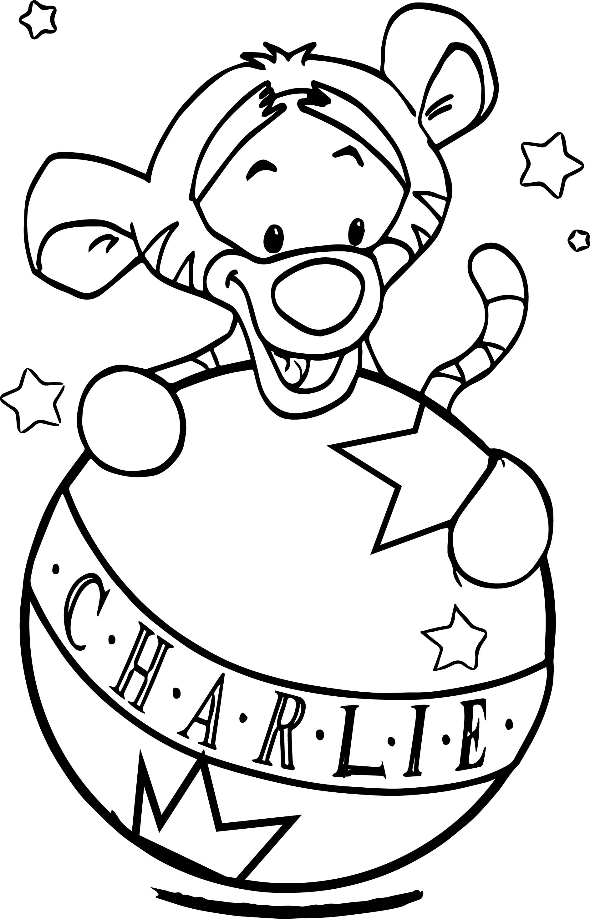 Baby Tigger And Ball Coloring Page