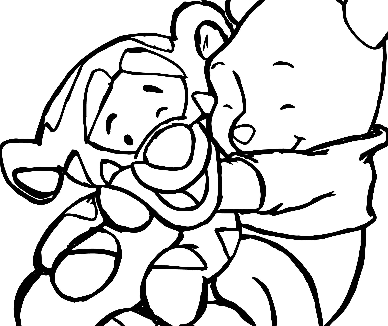 Baby Tigger And Pooh Hug Coloring Page