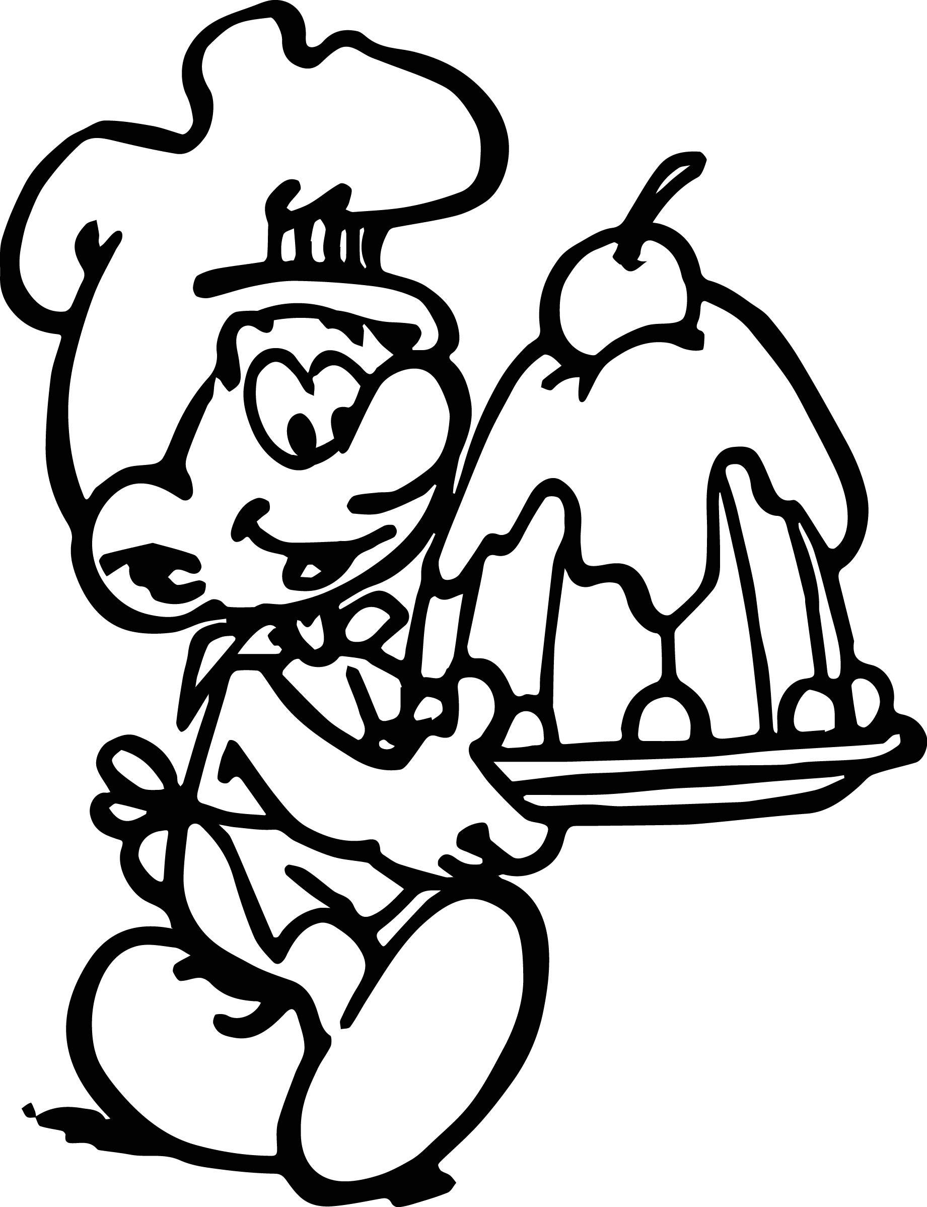 Baker Smurf Making Cake Coloring Page